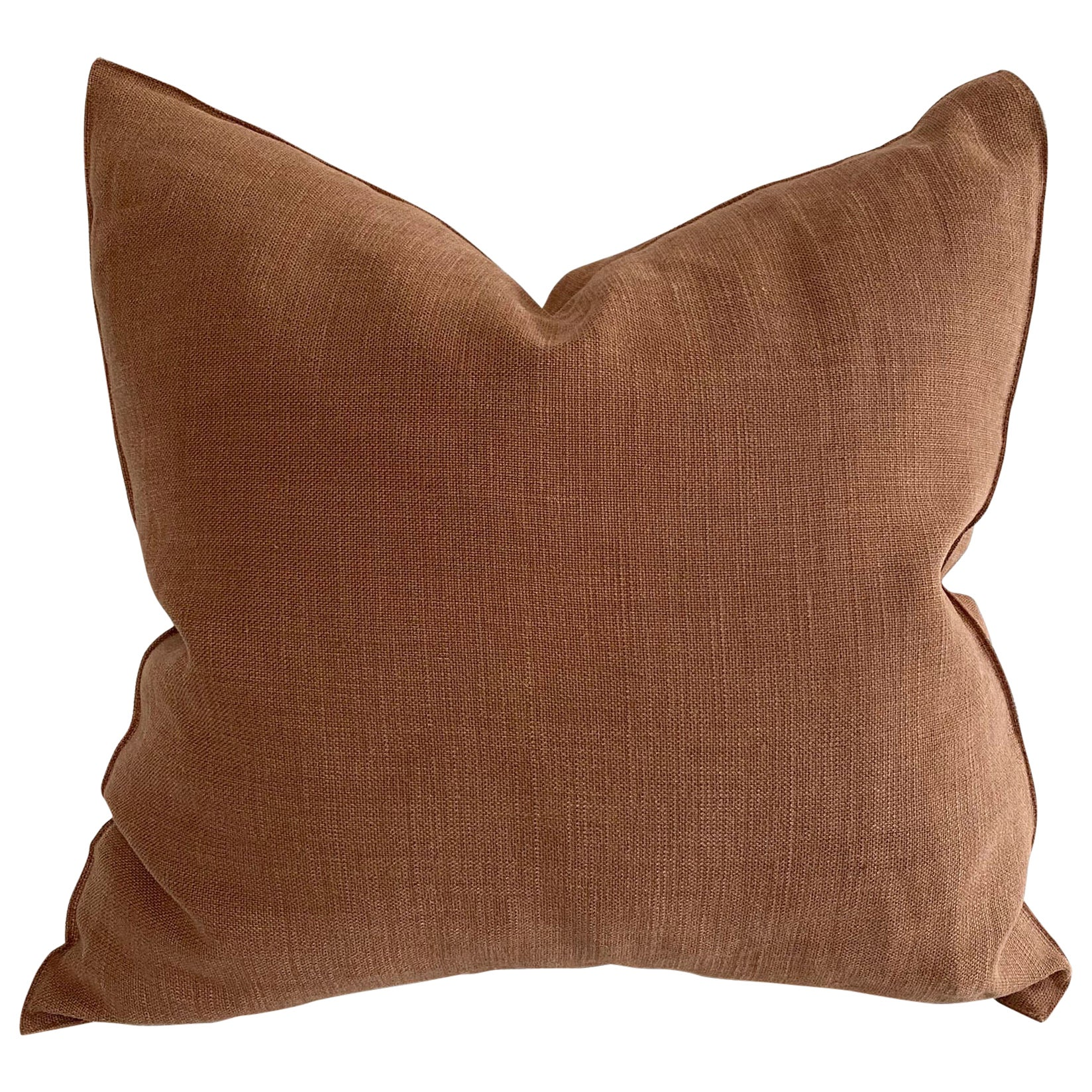 Stone Washed Terracotta Rust Color Belgian Linen Accent Pillow Cover