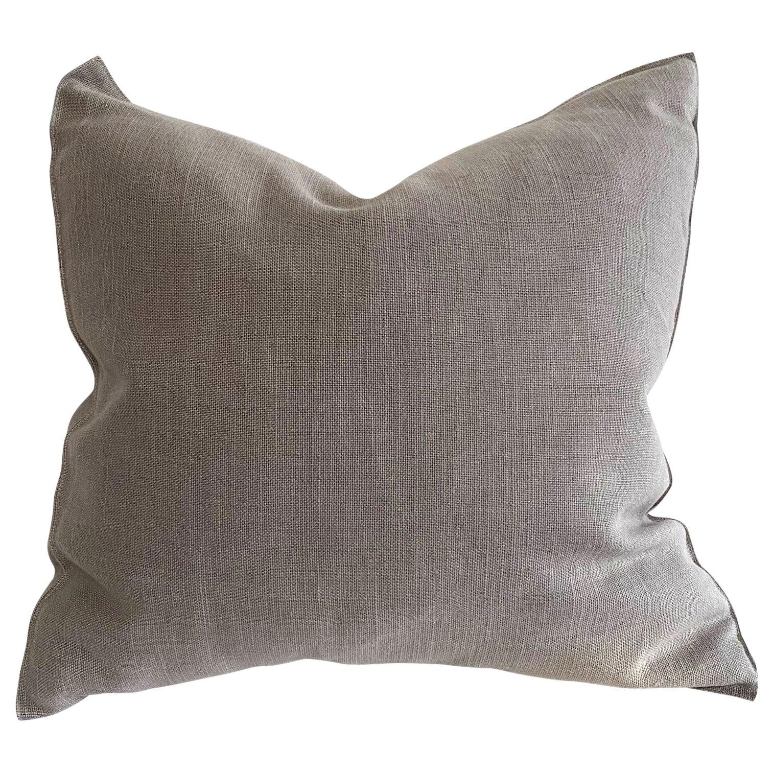 Stone Gray Belgian Linen Accent Pillow
