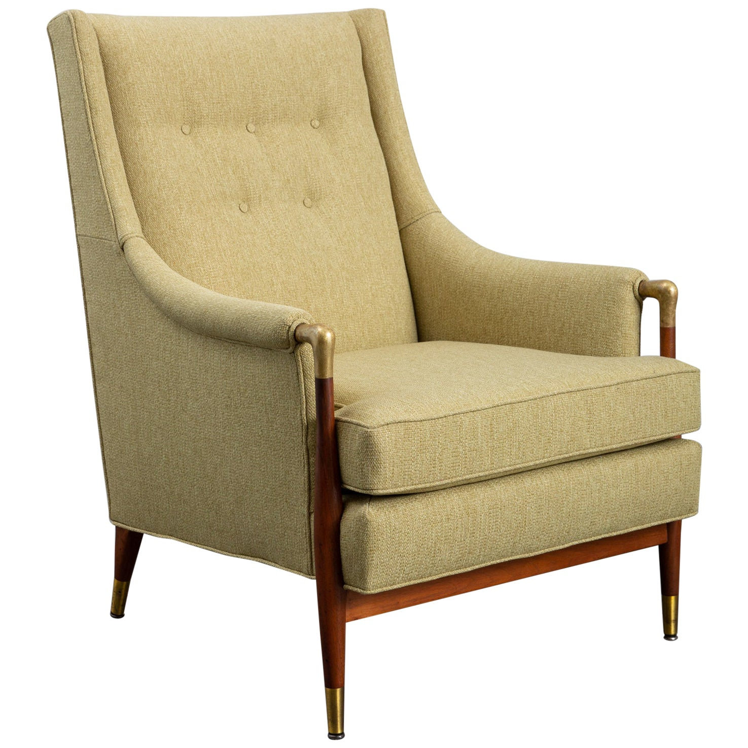 Newly Upholstered Mid-Century Modern Armchair with Brass Details