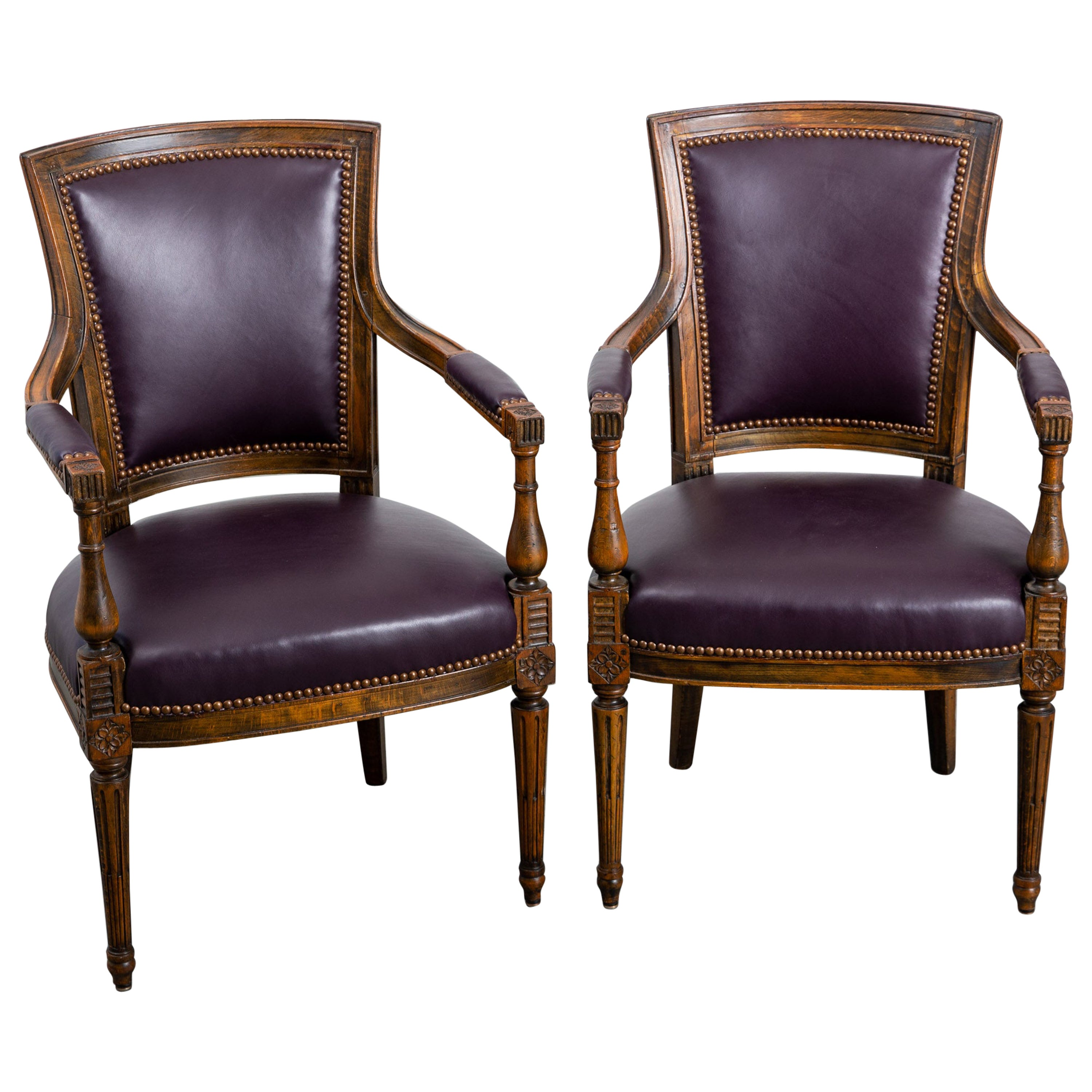 Pair of Early 20th Century Carved Wood Directoire Armchairs