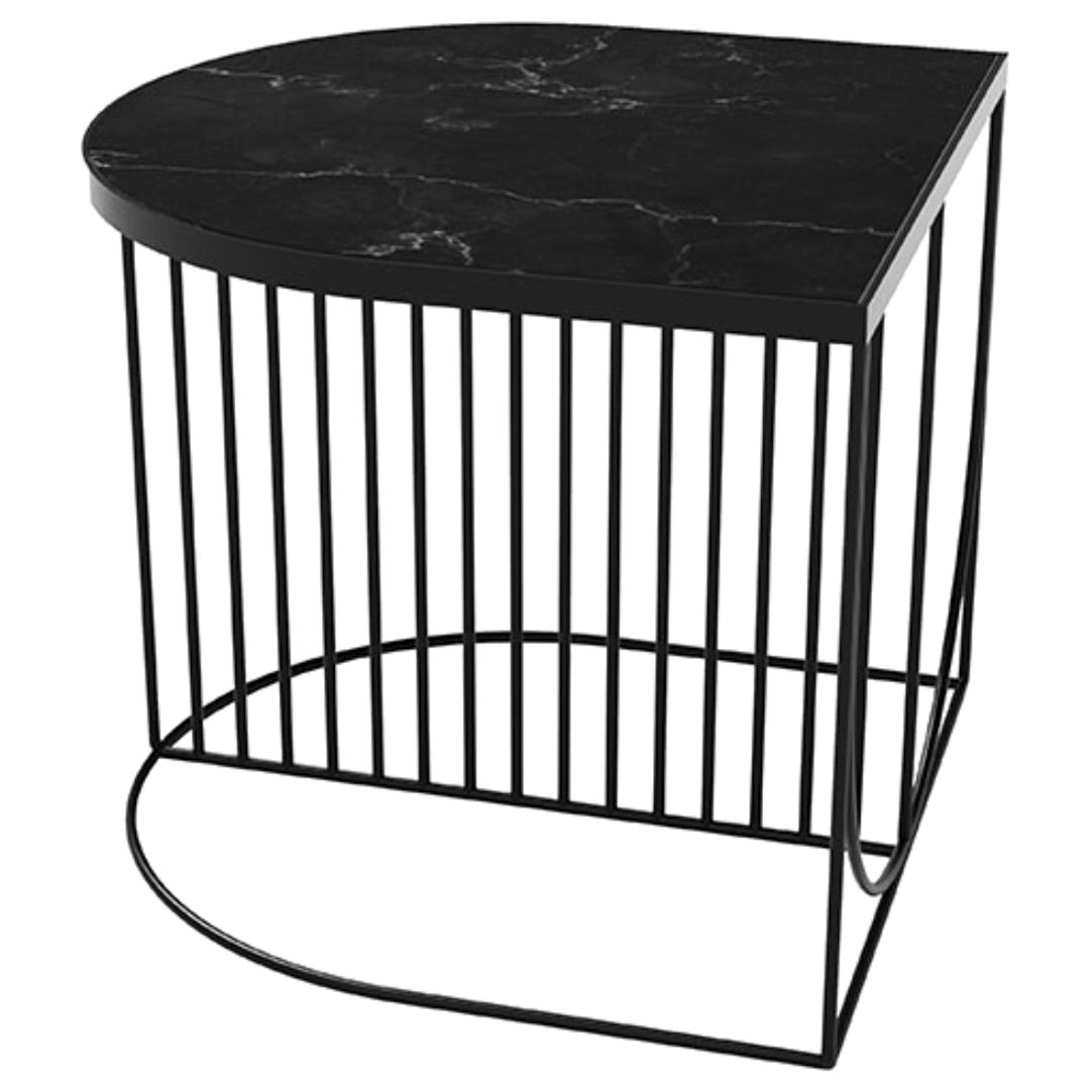 Black Marble and Steel Contemporary Side Table