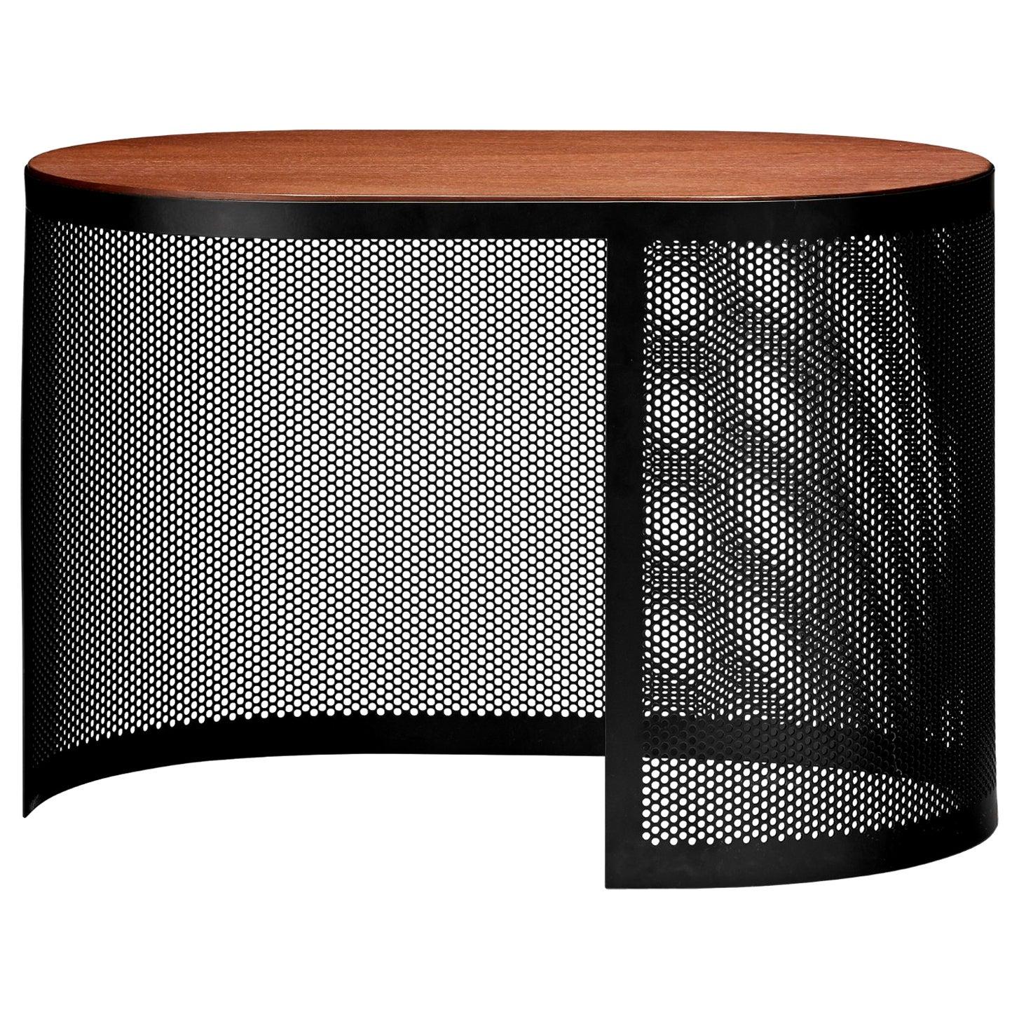 Walnut and Steel Contemporary Medium Side Table