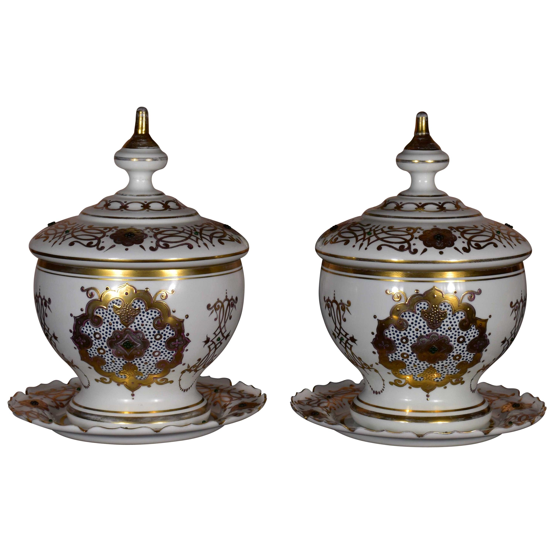 Pair of Historical Bohemian Opal Glass Bomboniers Gold Paint Ottoman Market