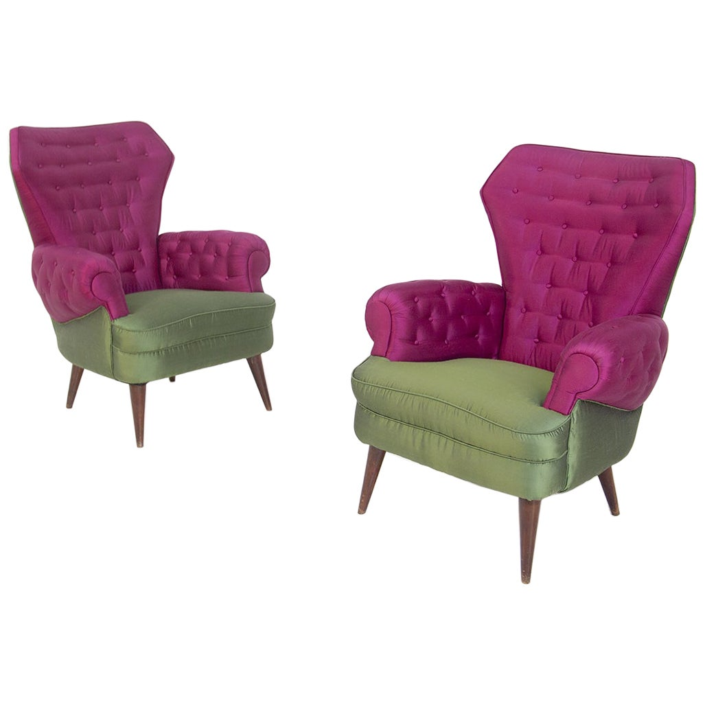 Pair of Italian Armchairs in Silk Purple and Green, 1950s