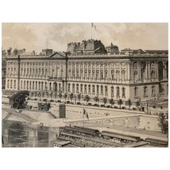 Paris The Louvre 1867 Antique Lithograph Print Ciceri Paper Hoffbauer