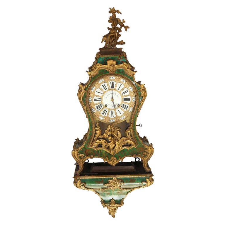 Important 18th Century French Horn and Gilt Bronze Bracket Clock Signed Marchand