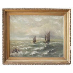 Antique Oil Painting of Boat at Sea in Giltwood Frame