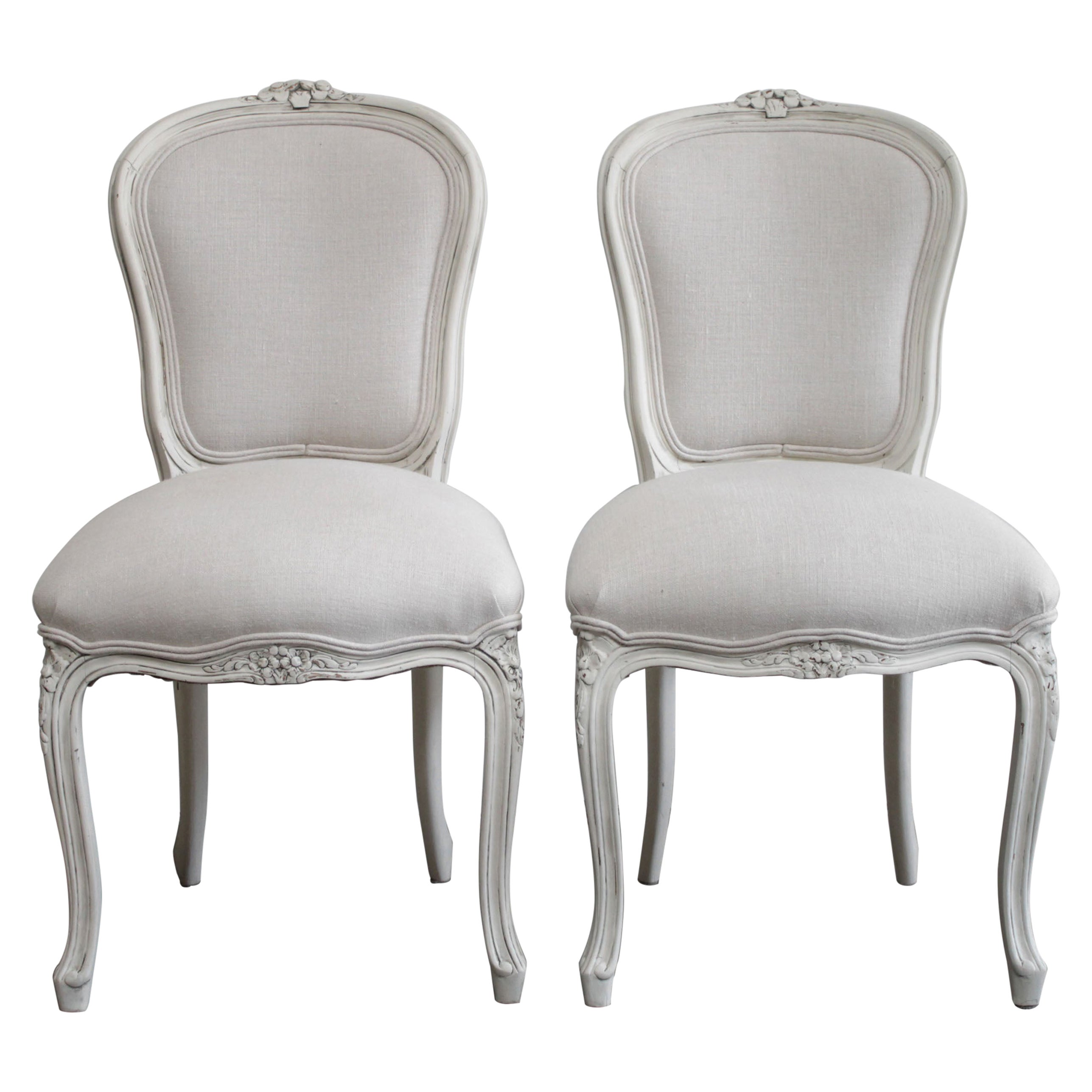 Pair of Vintage Painted and Upholstered Louis XV Style French Side Chairs