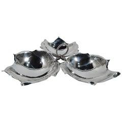 Classic Sciarrotta Midcentury Sterling Silver 3-Leaf Condiment Bowl