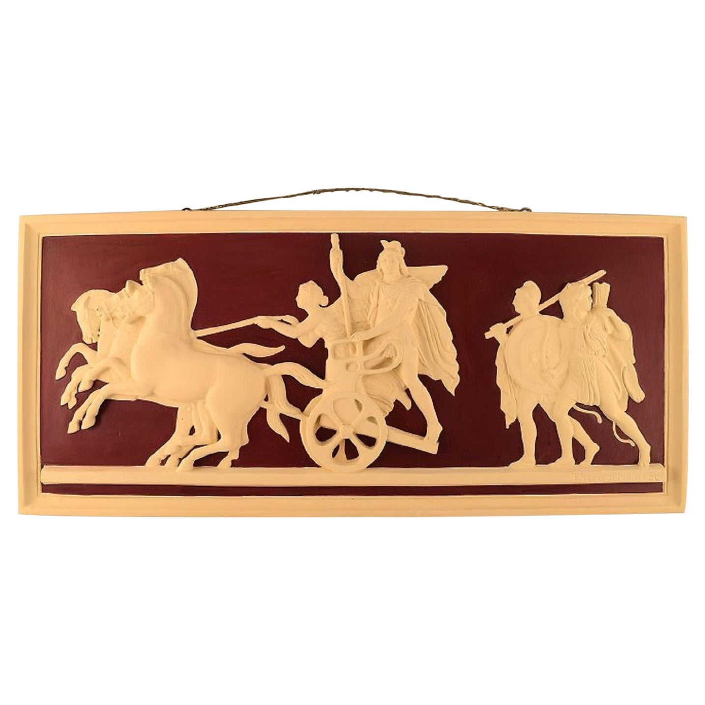 Colossal Plaster Wall Plaque with Motif by Thorvaldsen, Chariot with Four Horses