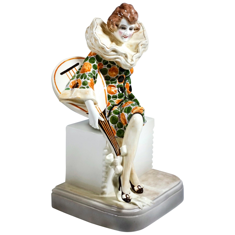 Goldscheider Art Deco Figure Seated Pierrette with Lute by W. Thomasch