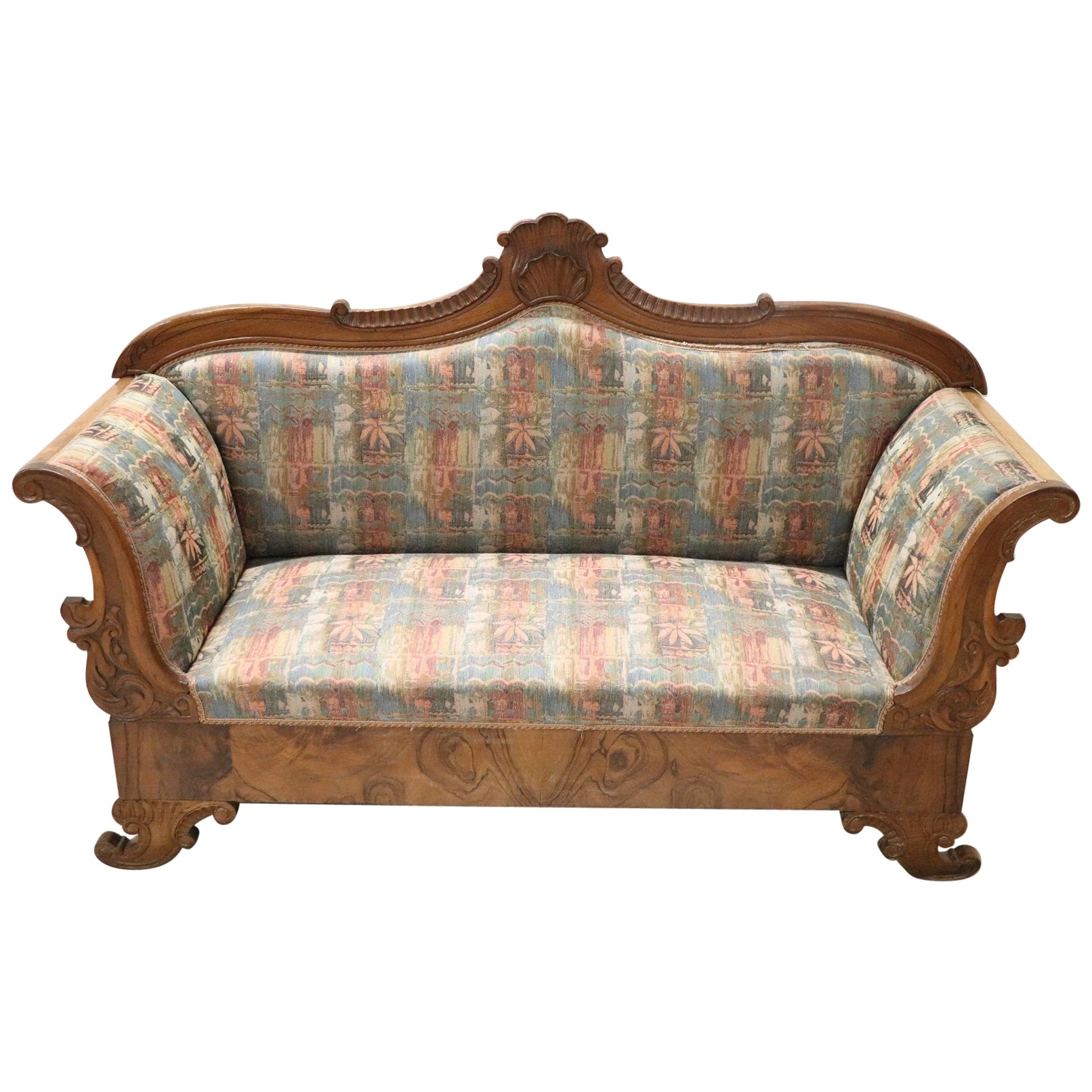 19th Century Italian Charles X Carved Walnut Antique Settee