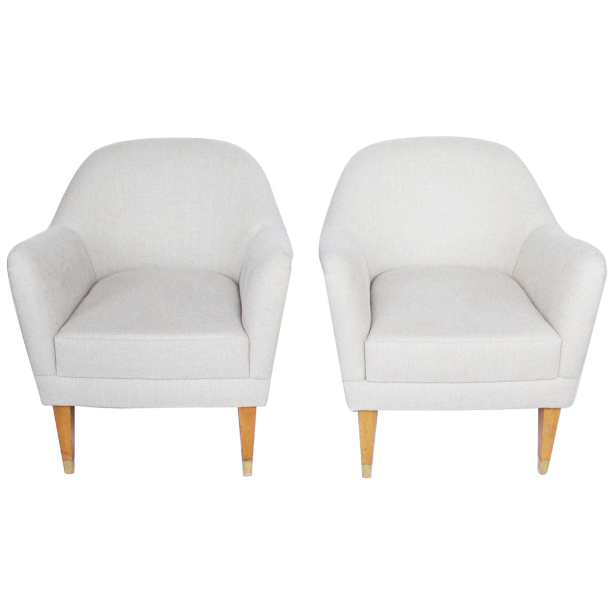 Pair of Midcentury Italian Bedroom Chairs Re-Upholstered in Linen