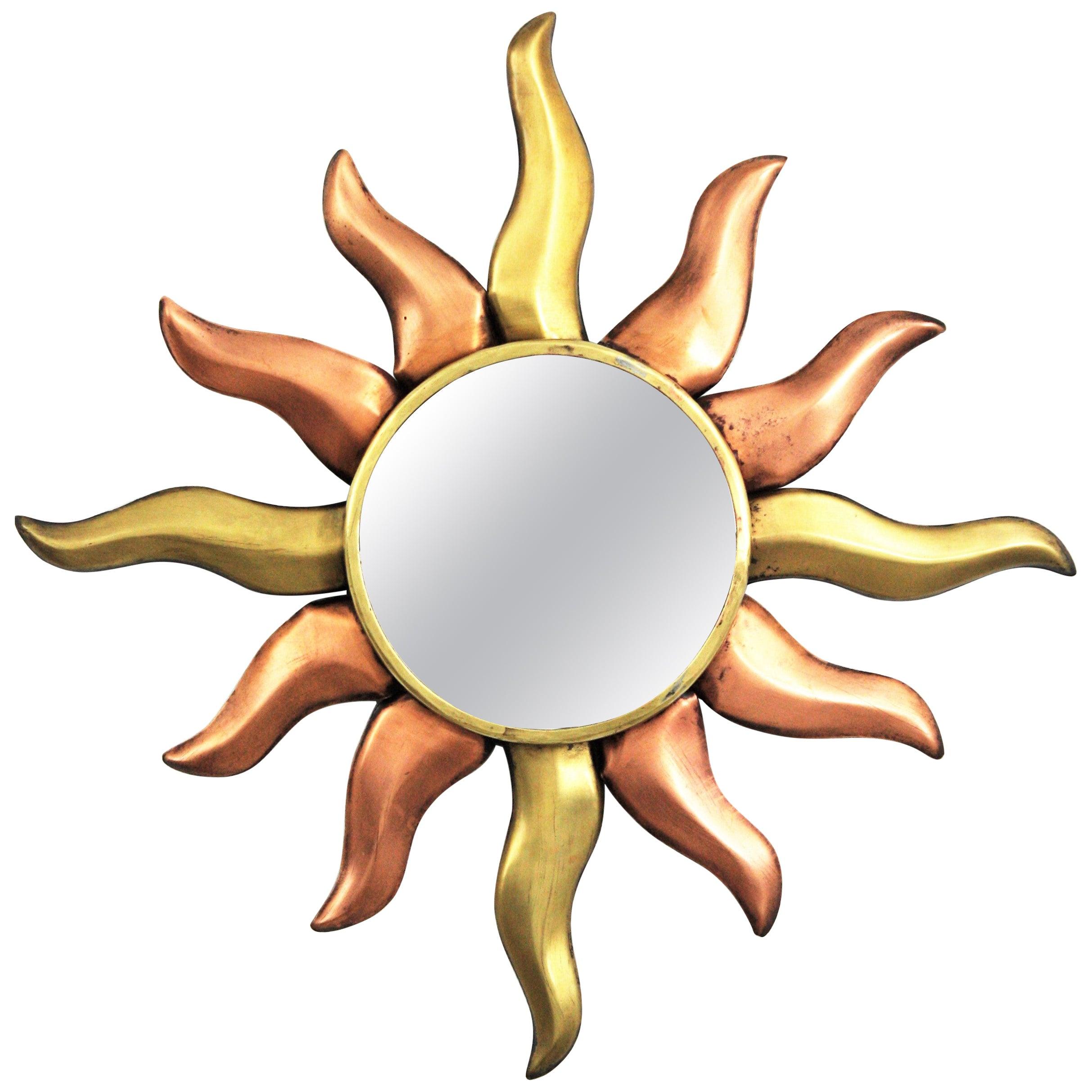 Sunburst French Mirror in Copper and Brass
