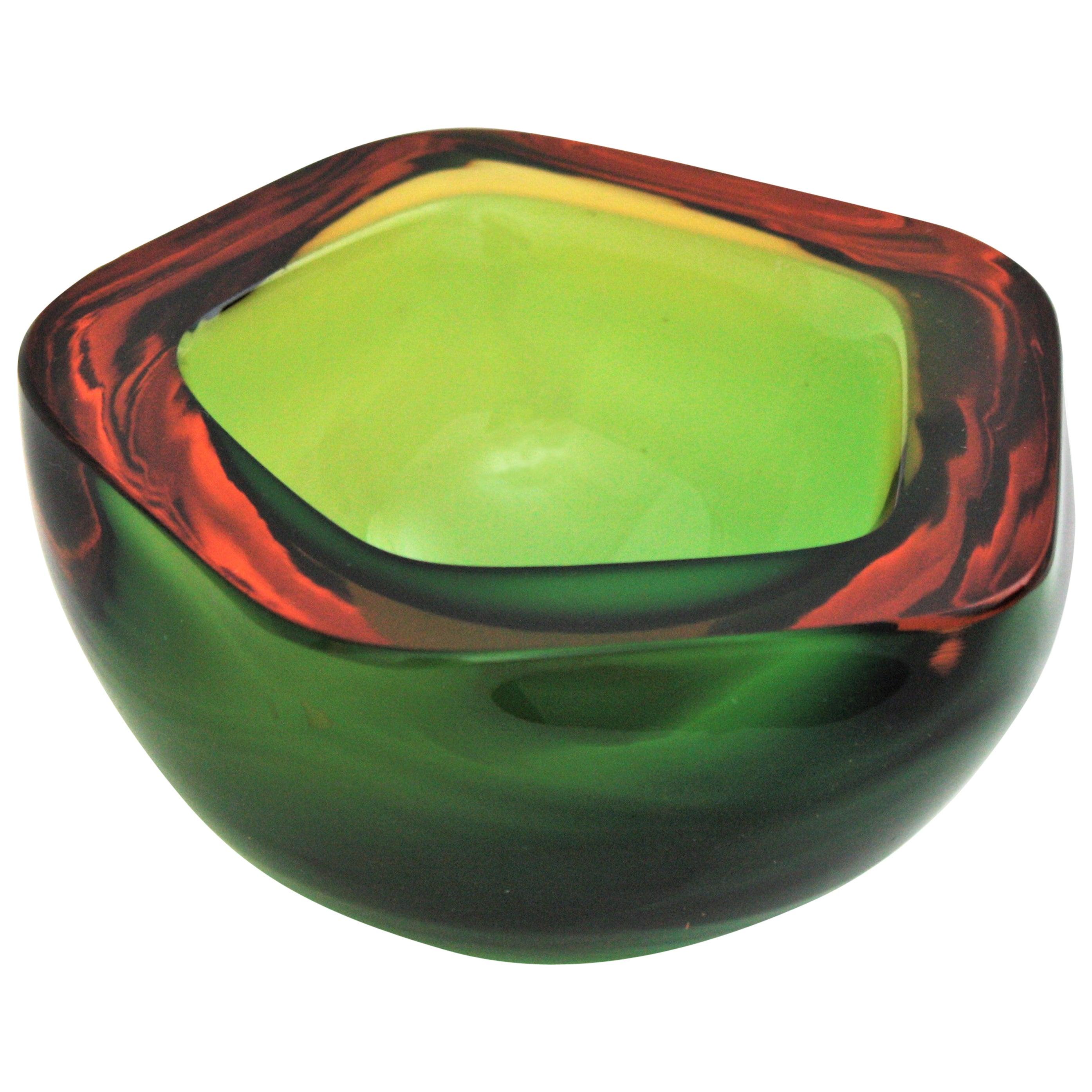 Flavio Poli Seguso Murano Art Glass Sommerso Green Amber Bowl