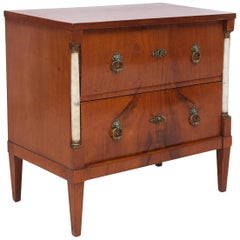 Small 2-Drawer Empire Chest of Drawers in Mahogany with Marble Columns