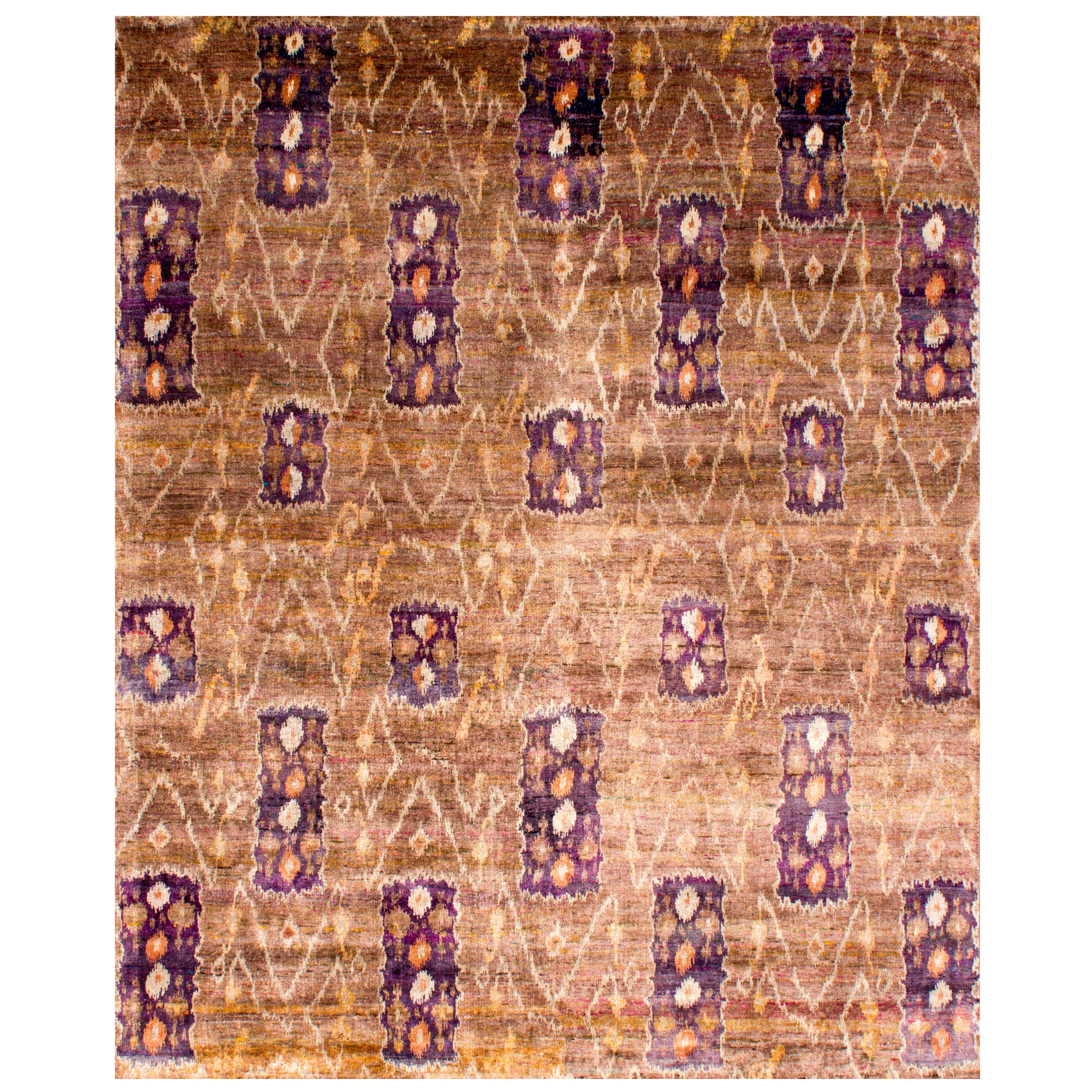 Transitional Hand Knotted Natural Silk Ikat Taupe Camel Mauve Rug in Stock