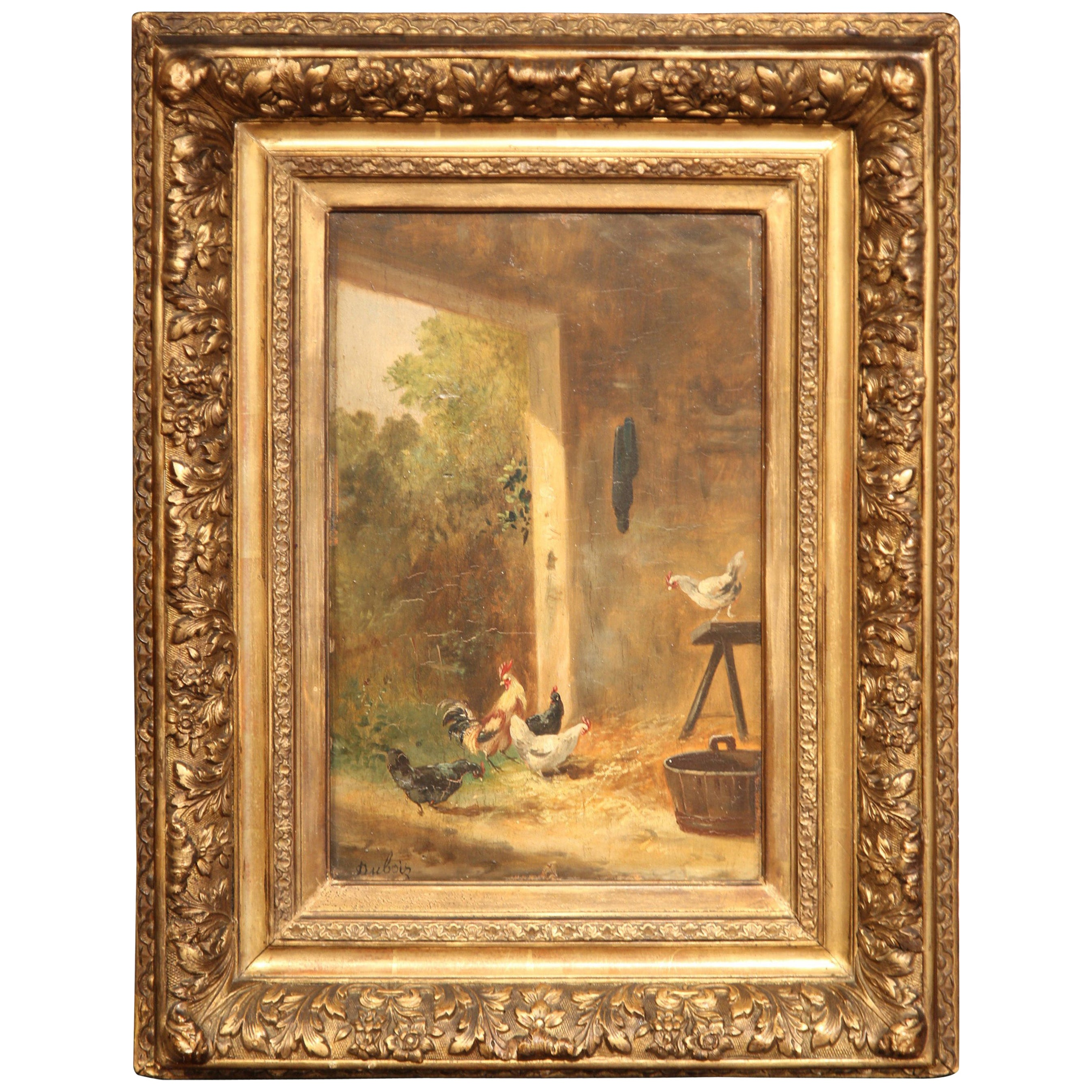 19th Century French Chicken Painting in Carved Gilt Frame Signed Dubois