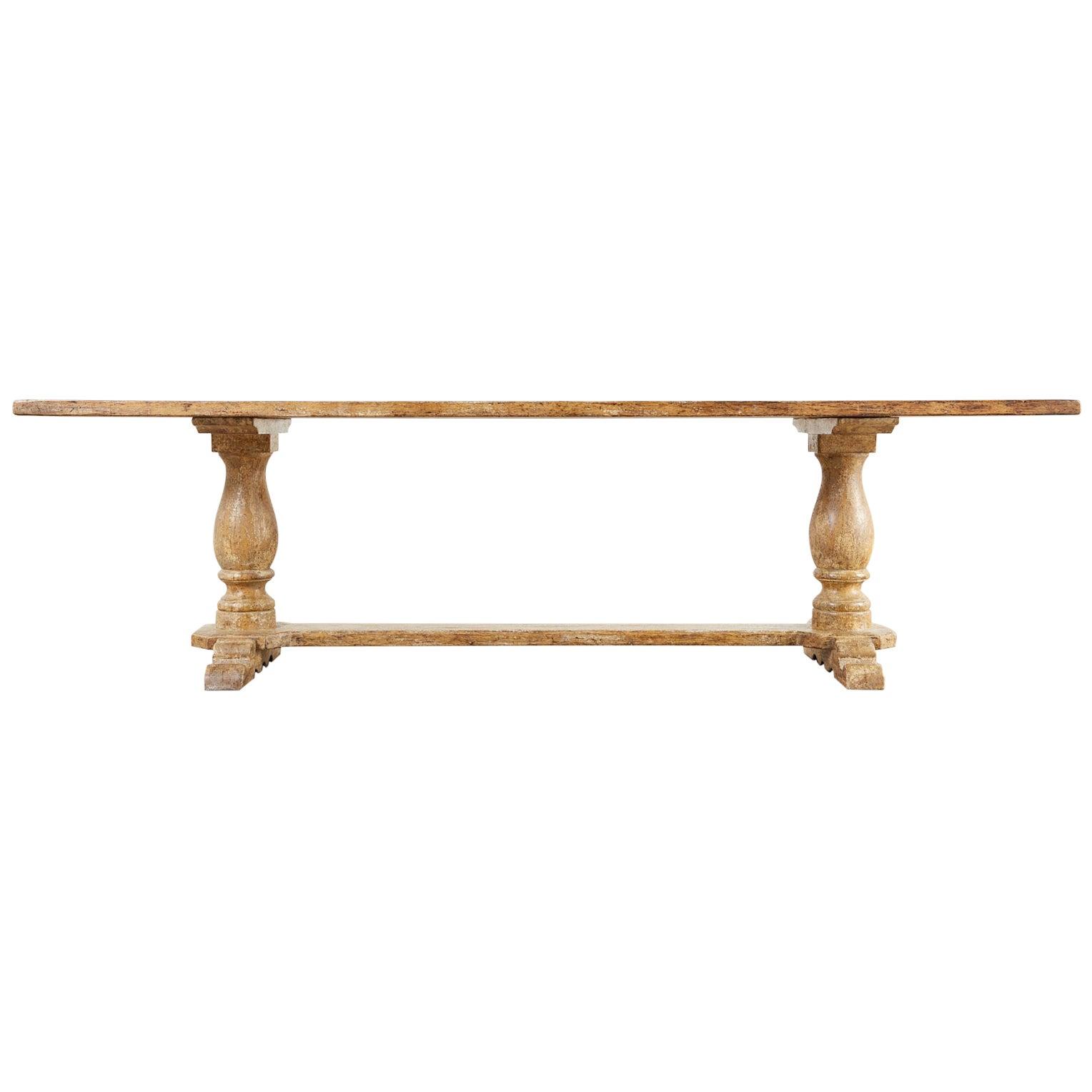 Italian Baroque Style Oak Trestle Farmhouse Dining Table