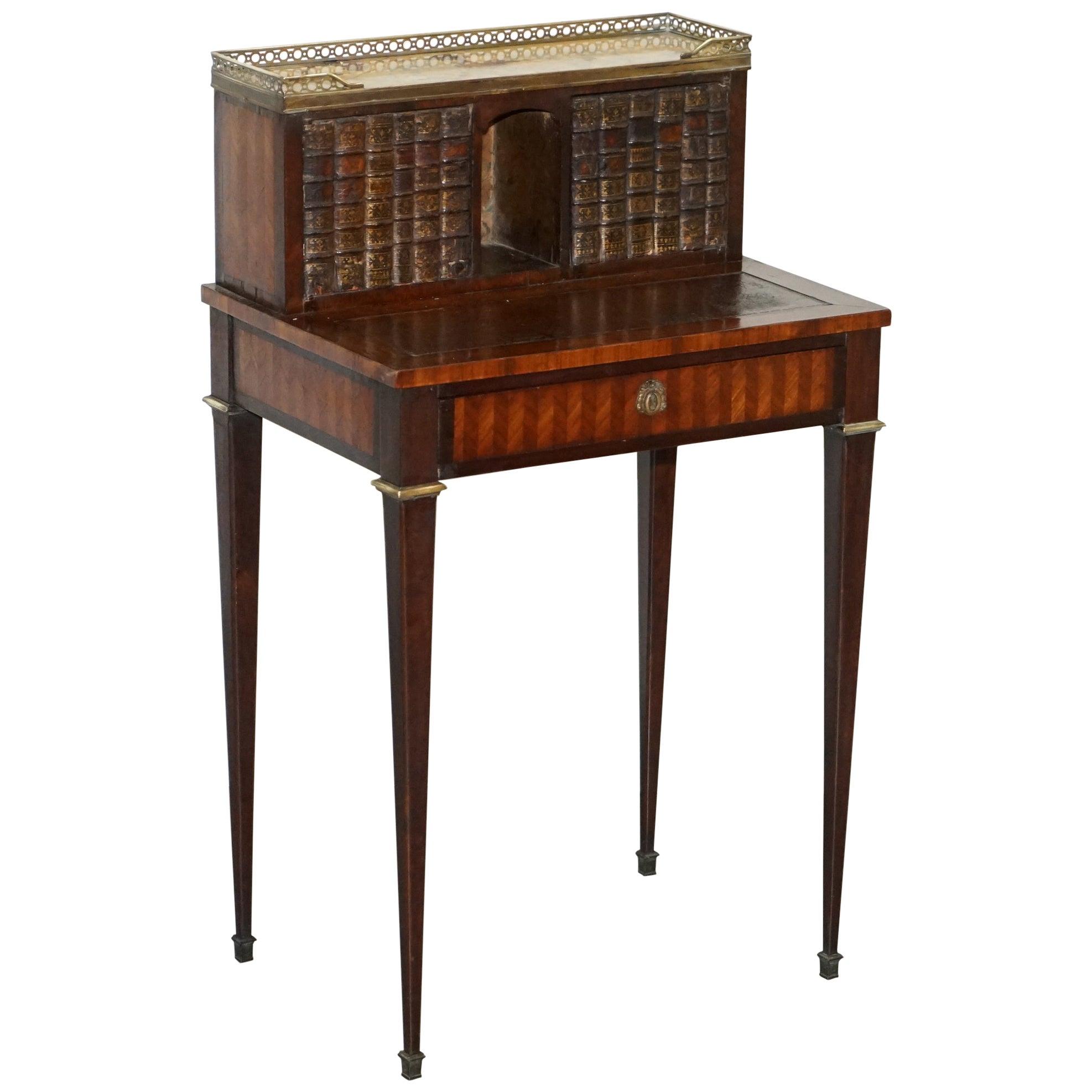 Antique French circa 1870 Bonheur Du Jour Hardwood Marble Desk Bureau Faux Books