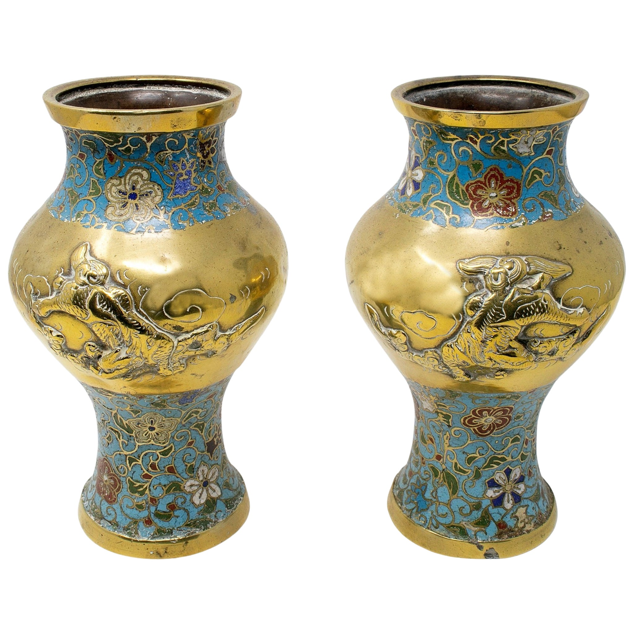 1950s Chinese Pair of Bronze Cloisonné Vases