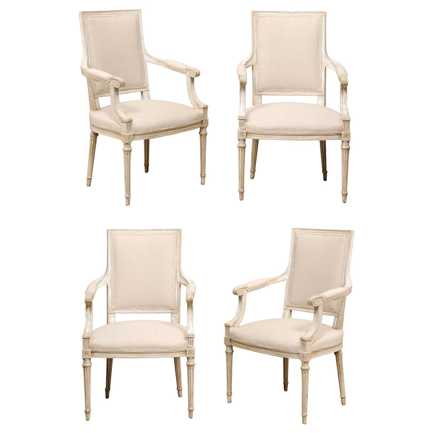 French Set of Four Carved Wood Armchairs with Newly Upholstered Seats and Backs