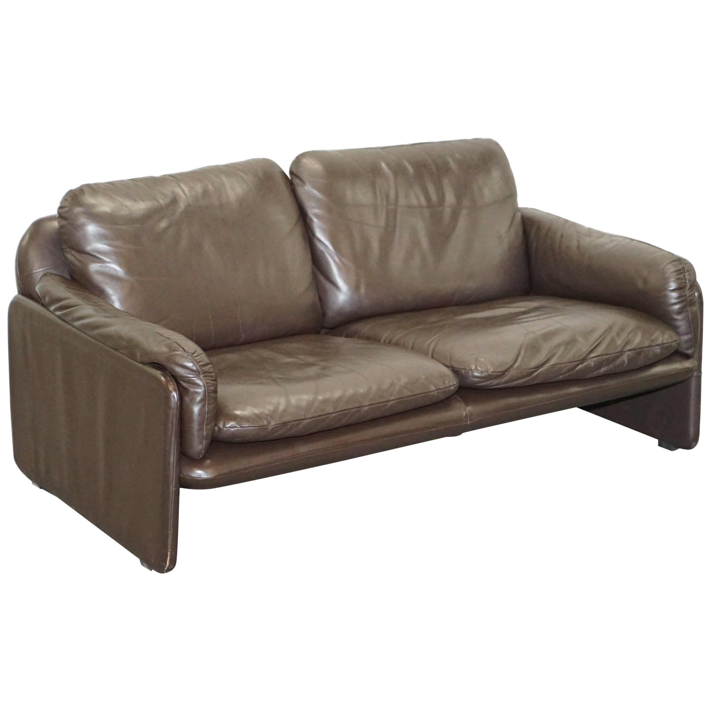 Danish Brown Leather 2 Seat Mid-Century Modern Sofa Armchairs Available