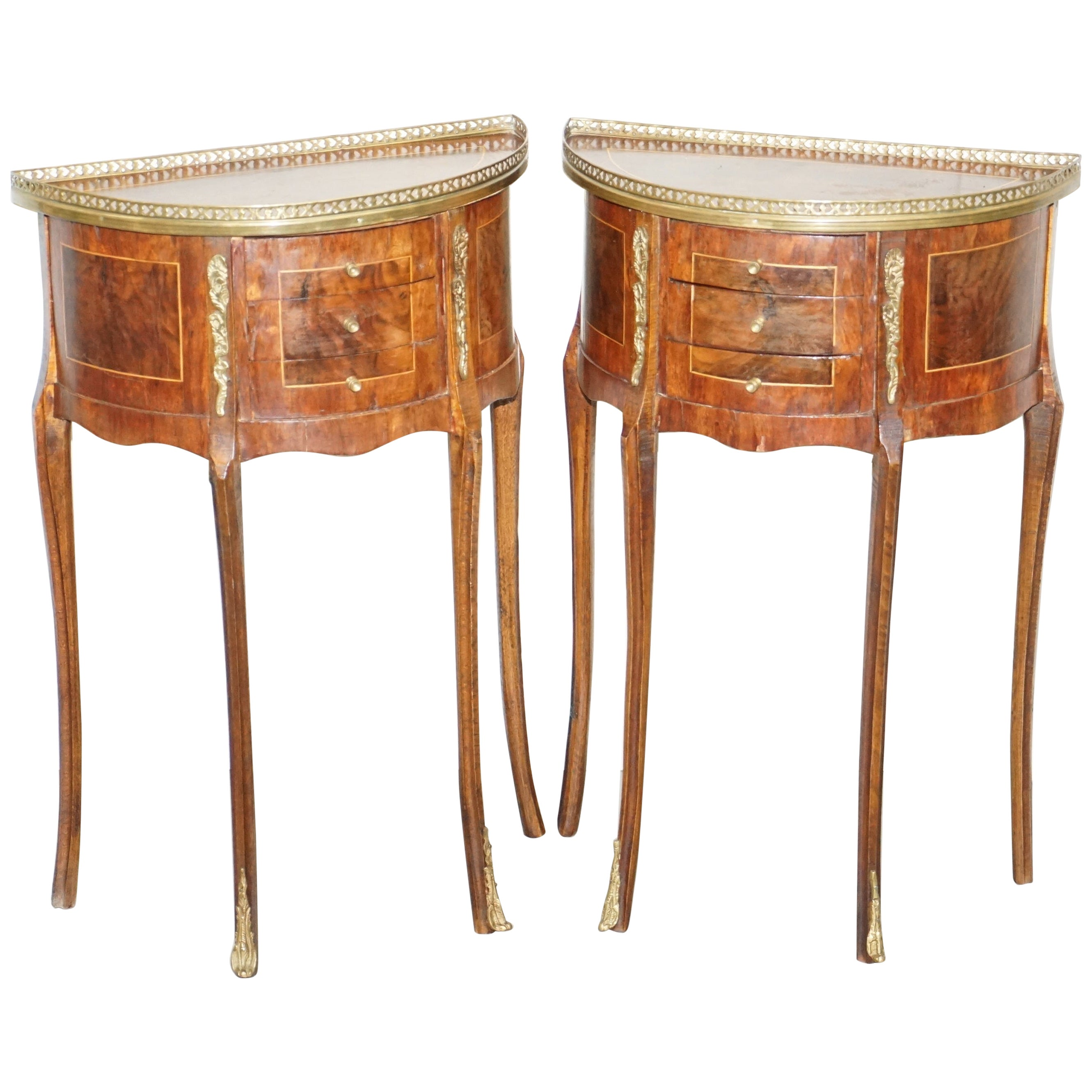 Pair of circa 1900 French Burr Walnut Brass Gallery Rail Demilune Side Tables