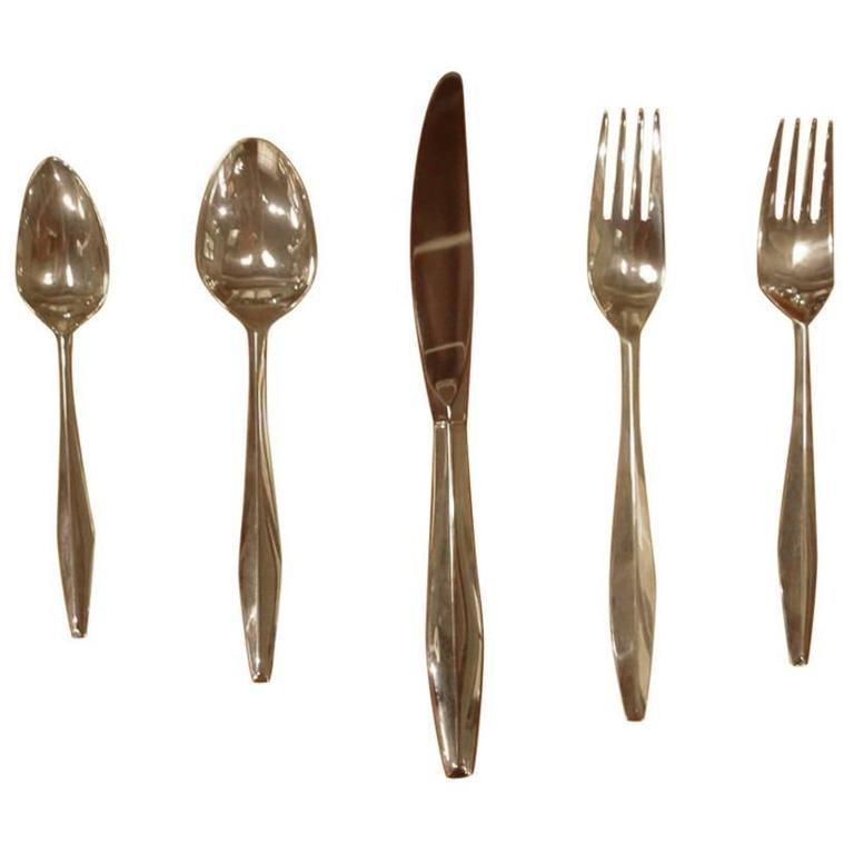 "Set of Gio Ponti Reed & Barton ""Diamond"" Sterling Silverware 1"