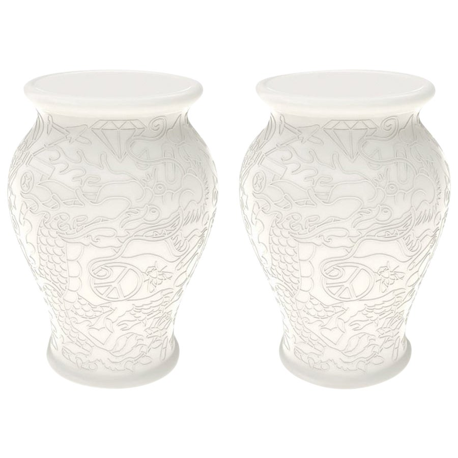 Set of 2 Ming White Stool or Side Tables by Studio Job