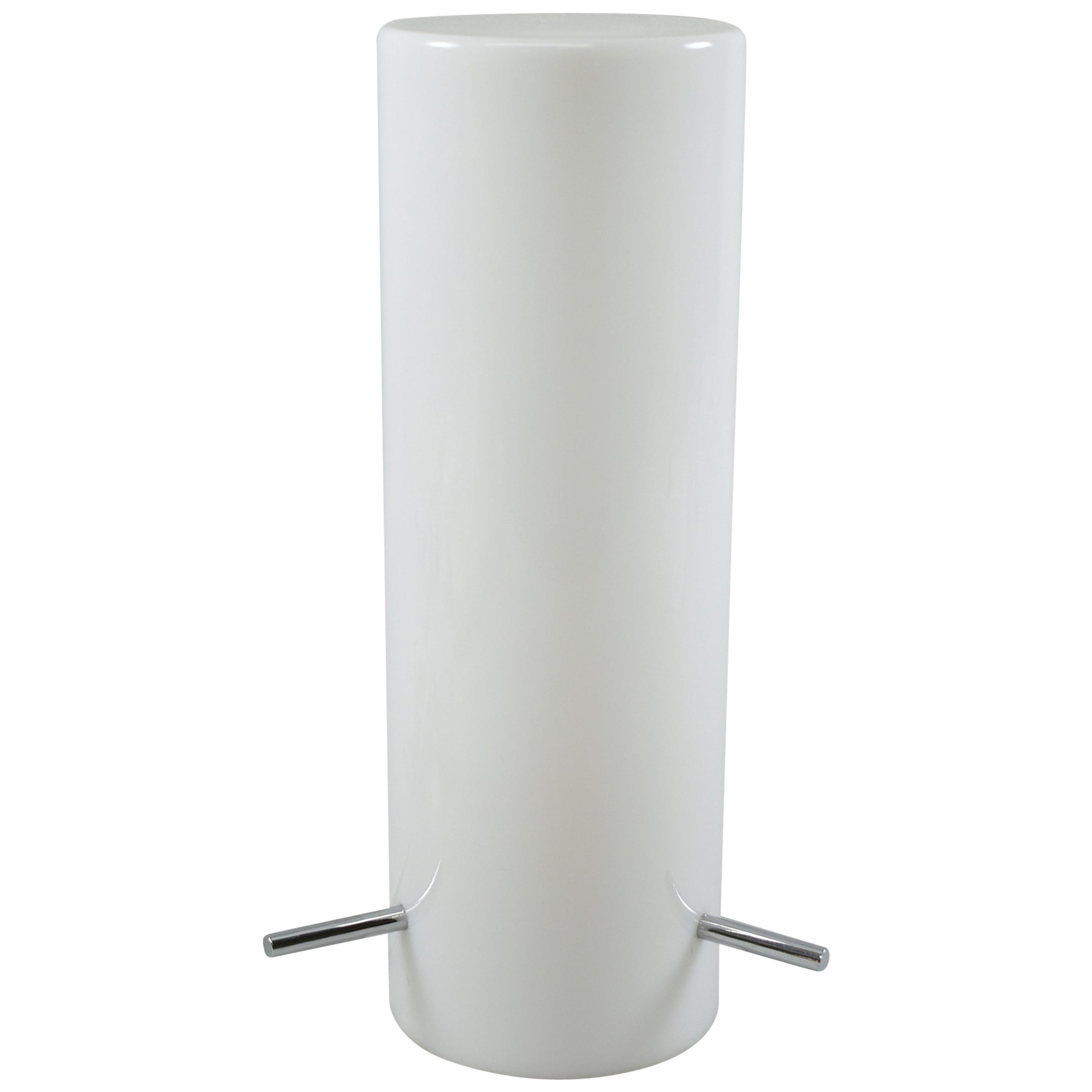 Opaque Vintage White Glass Cylinder Shade Table Lamp Attributed Stilnoro