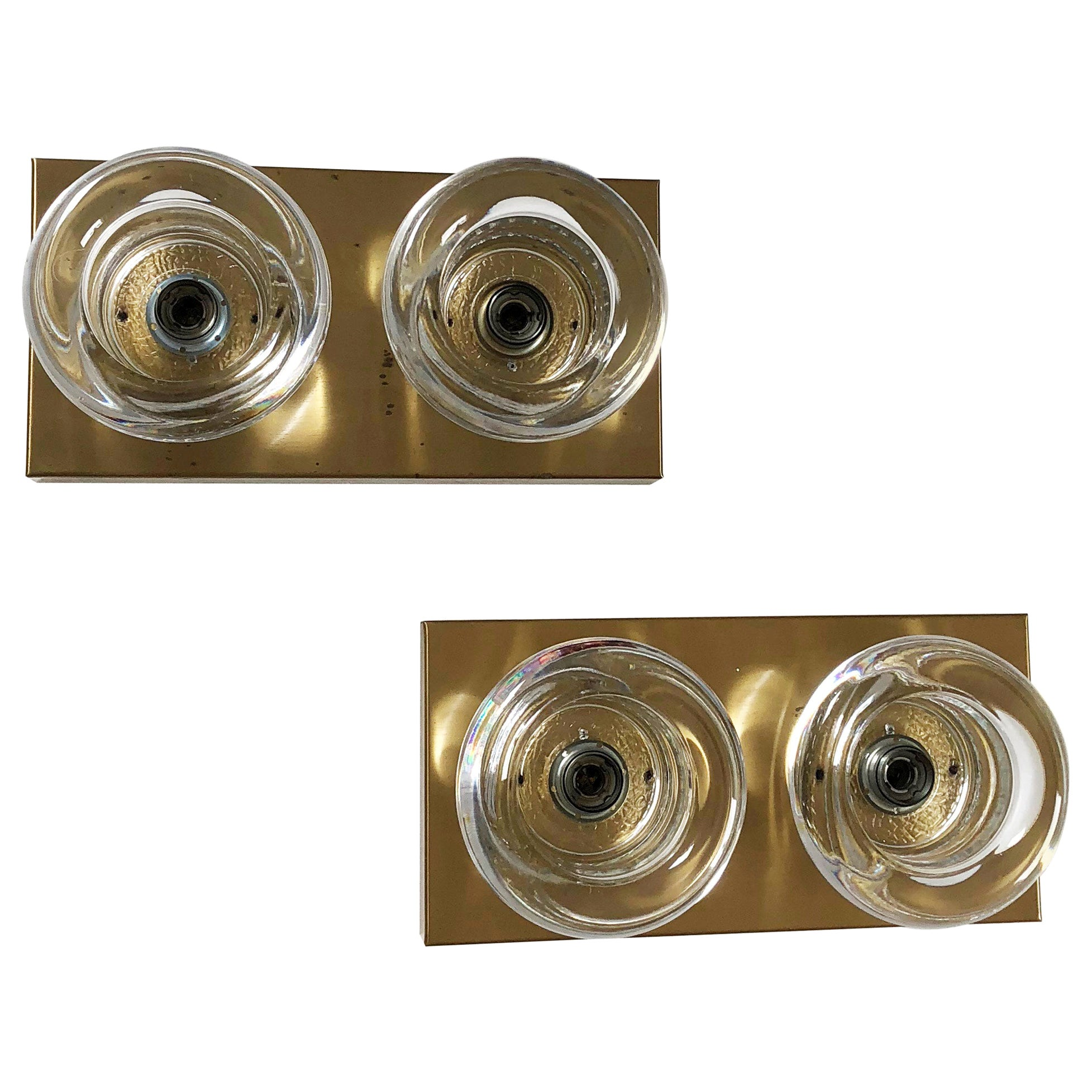 Set of 2 Original Brass Glass Wall Sconce Space Age Cosack Lights, Germany 1970s