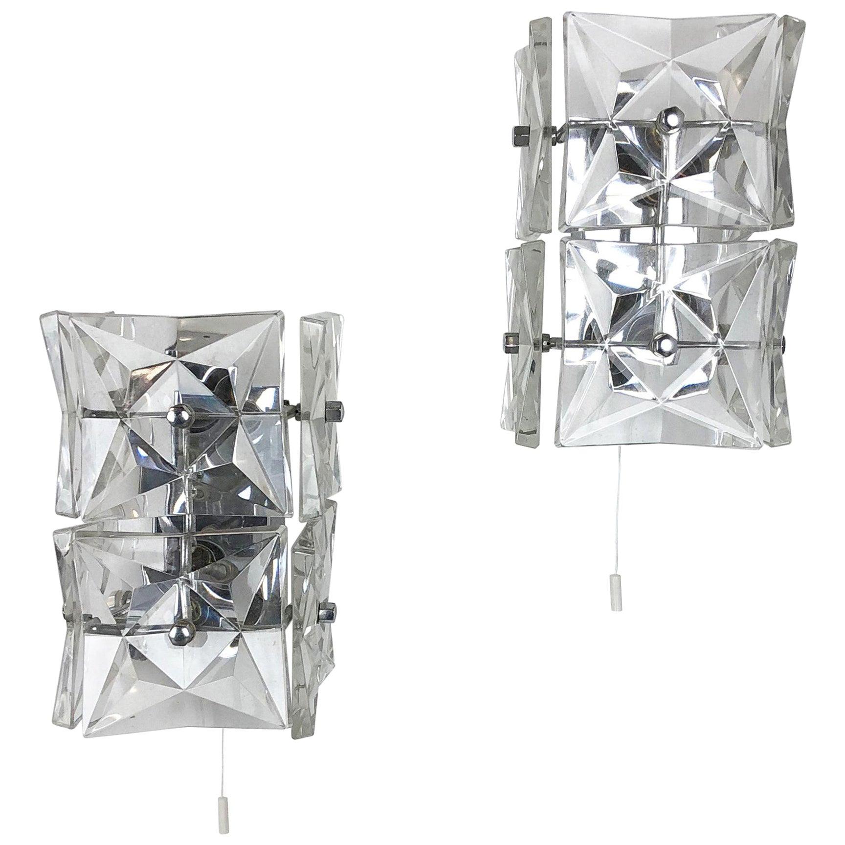 Set of 2 Huge Prismatic Crystal Glass Wall Light Sconces by Kinkeldey, Germany