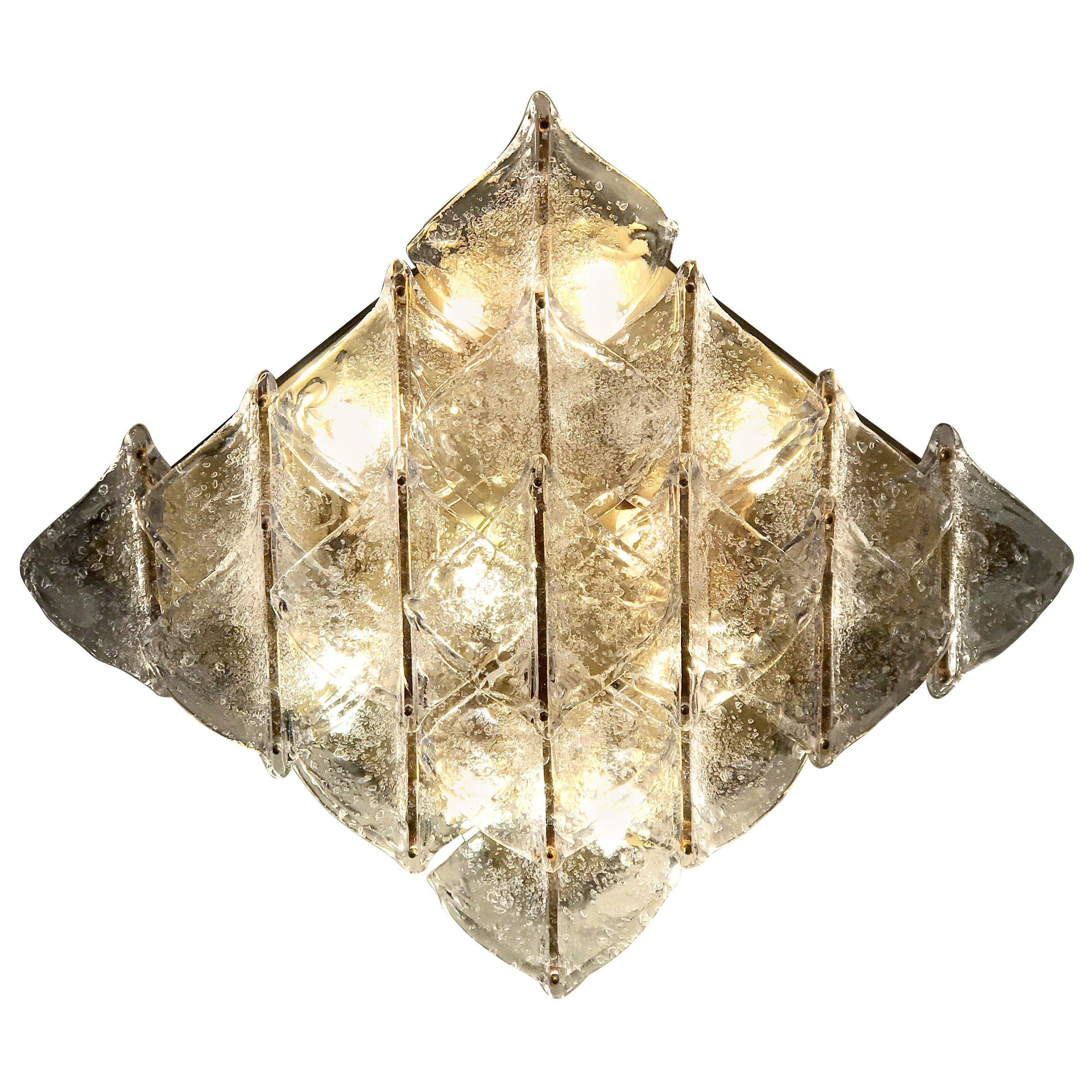 Rare Italian Murano Glass Flushmount or Wall Light by Mazzega