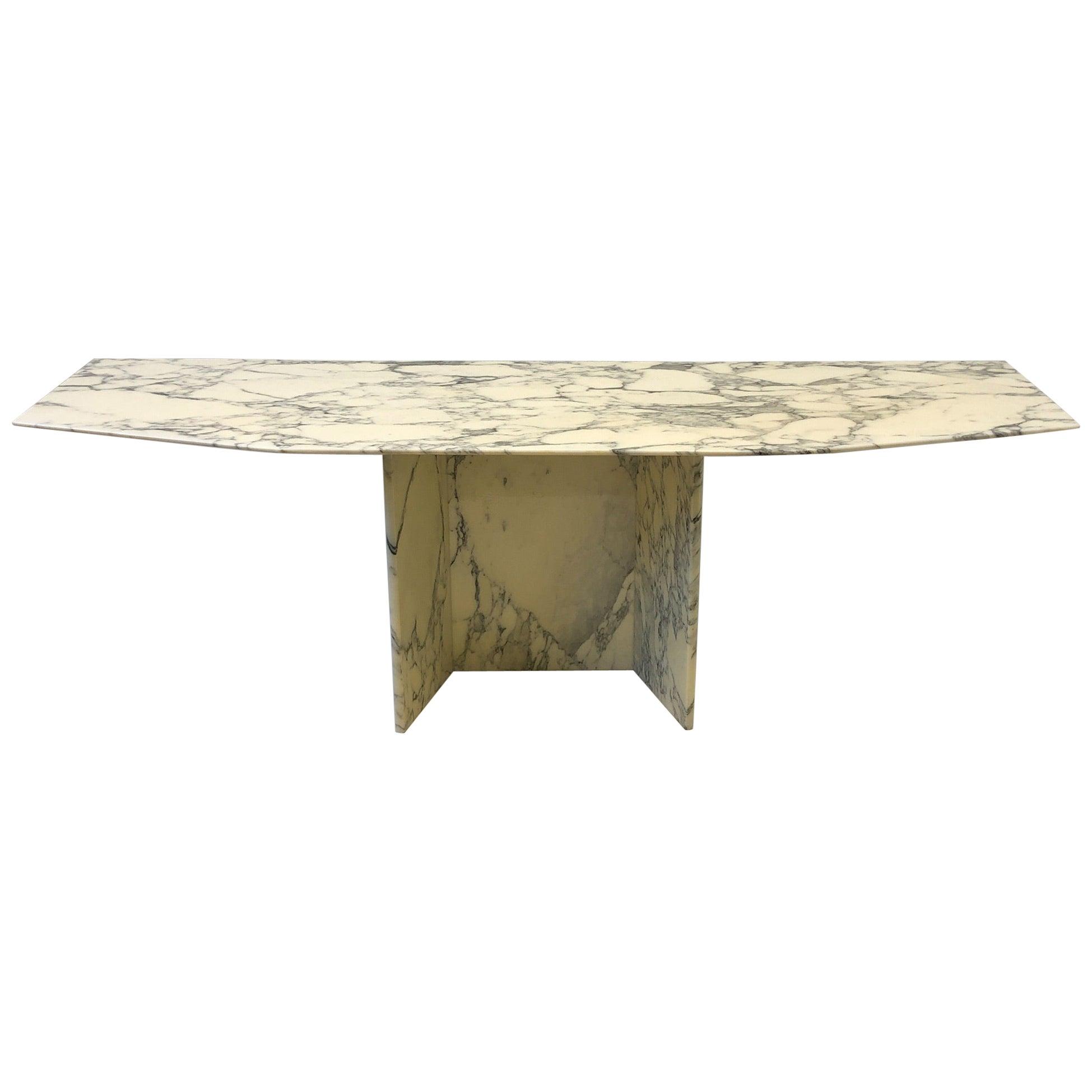 Italian Carrara Marble Console Table