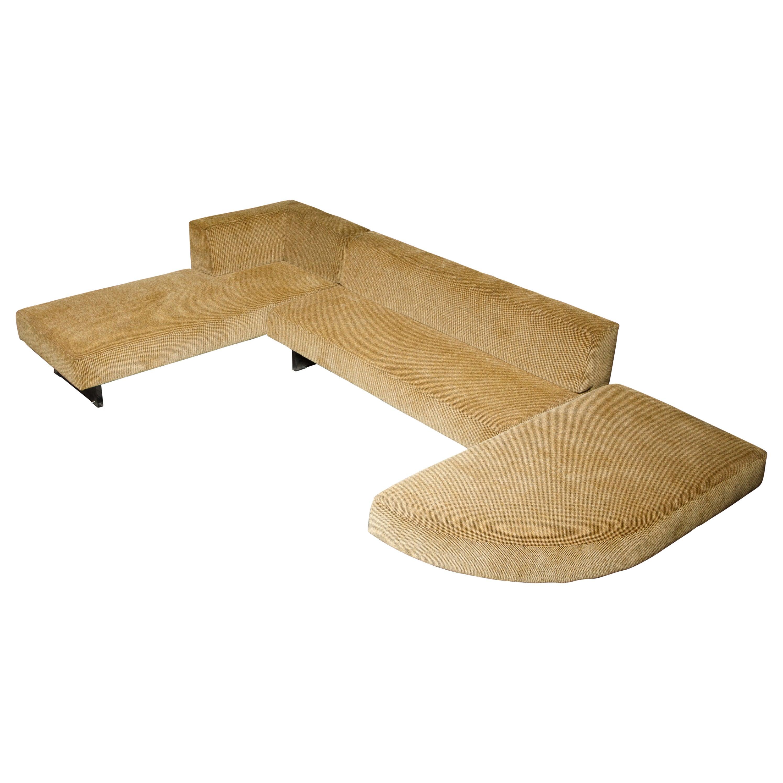 Vladimir Kagan Three Piece 'Omnibus' Sectional Sofa with Lucite Legs, Signed