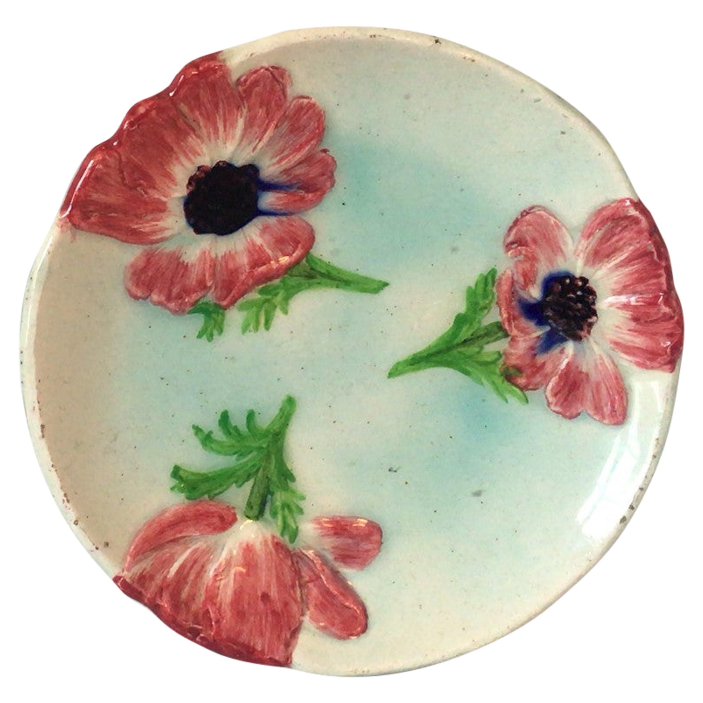 Majolica Flowers Plate Jerome Massier Fils, circa 1900