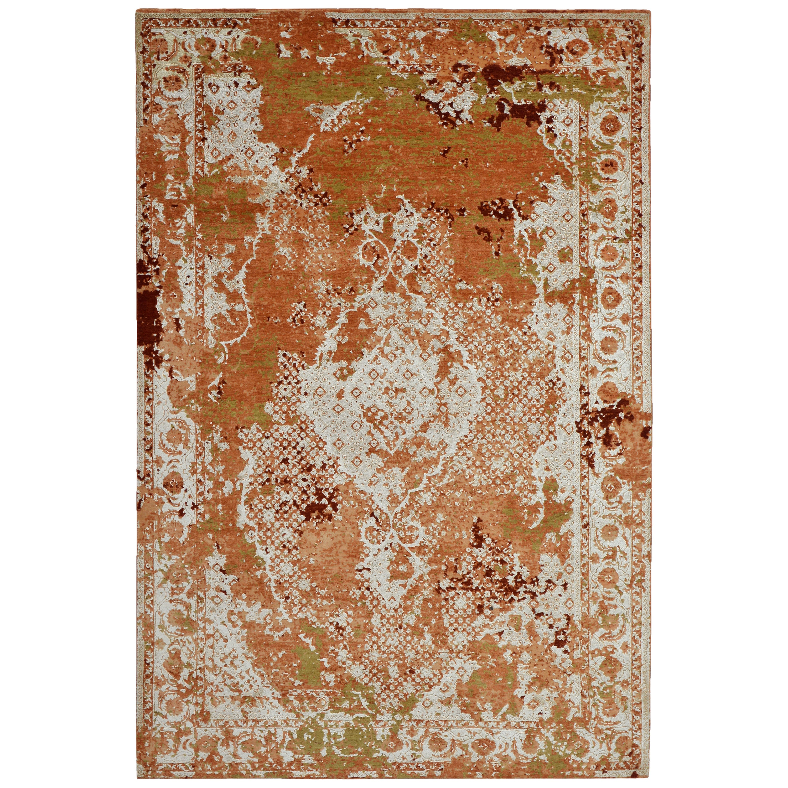 Modern Abstract Rug with Orange and Beige All-Over Pattern by Rug & Kilim