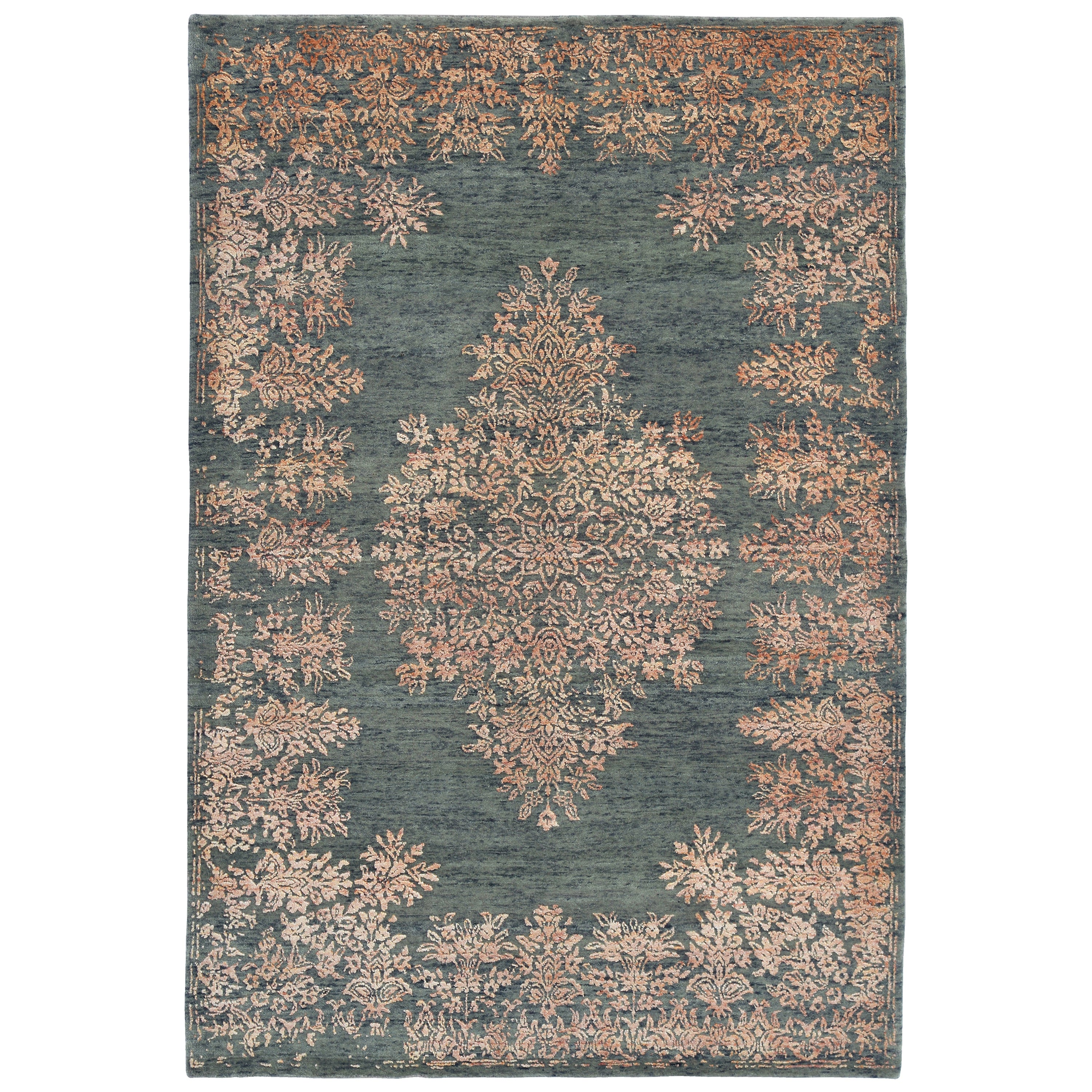 Contemporary Rug with Orange and Green Floral Medallion Pattern by Rug & Kilim
