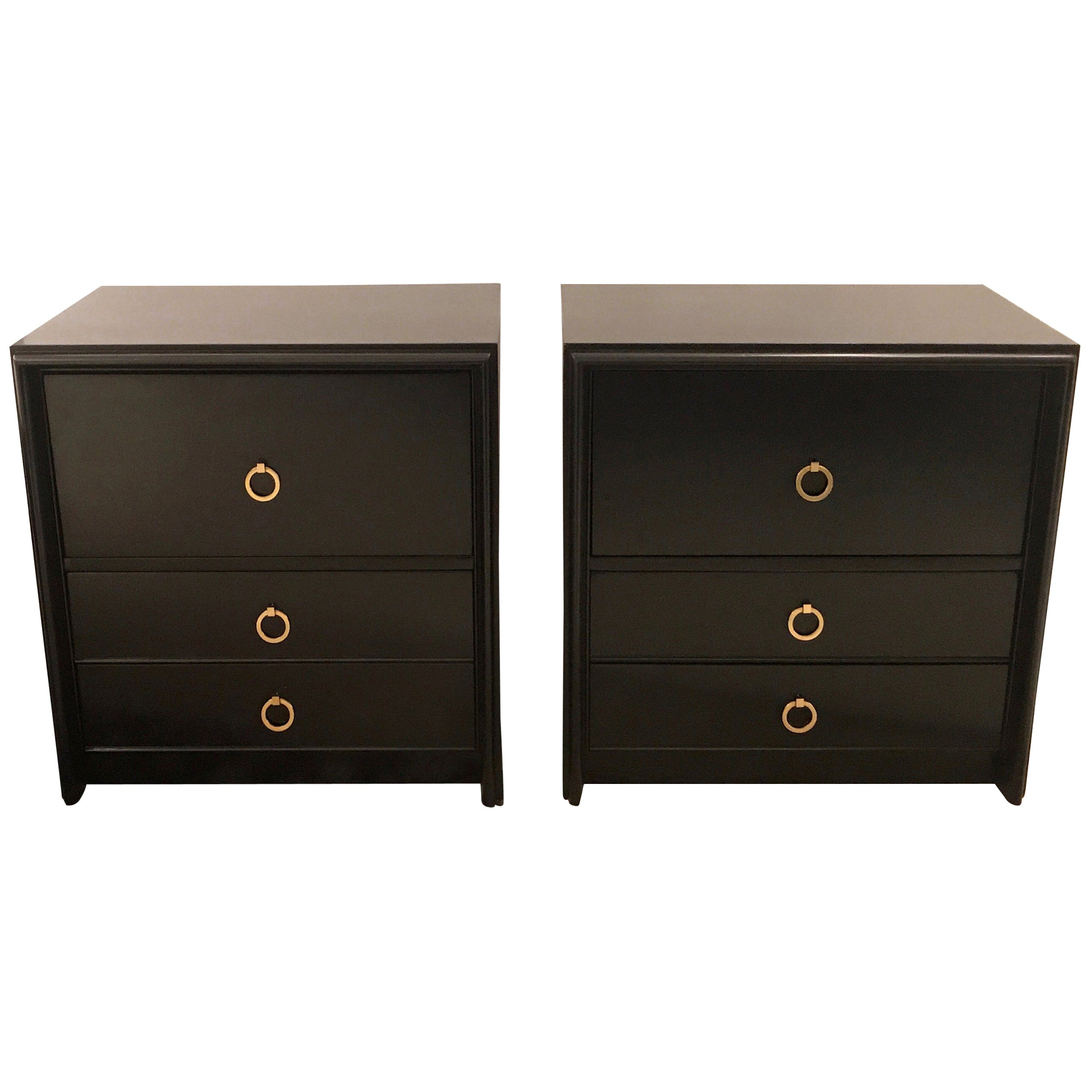 Pair of John Stuart Ebony Finish Nightstands, Side Tables