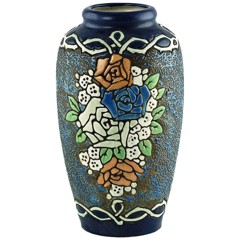 Early 20th Century Amphora Enameled Pottery Vase For Sale At 1stdibs
