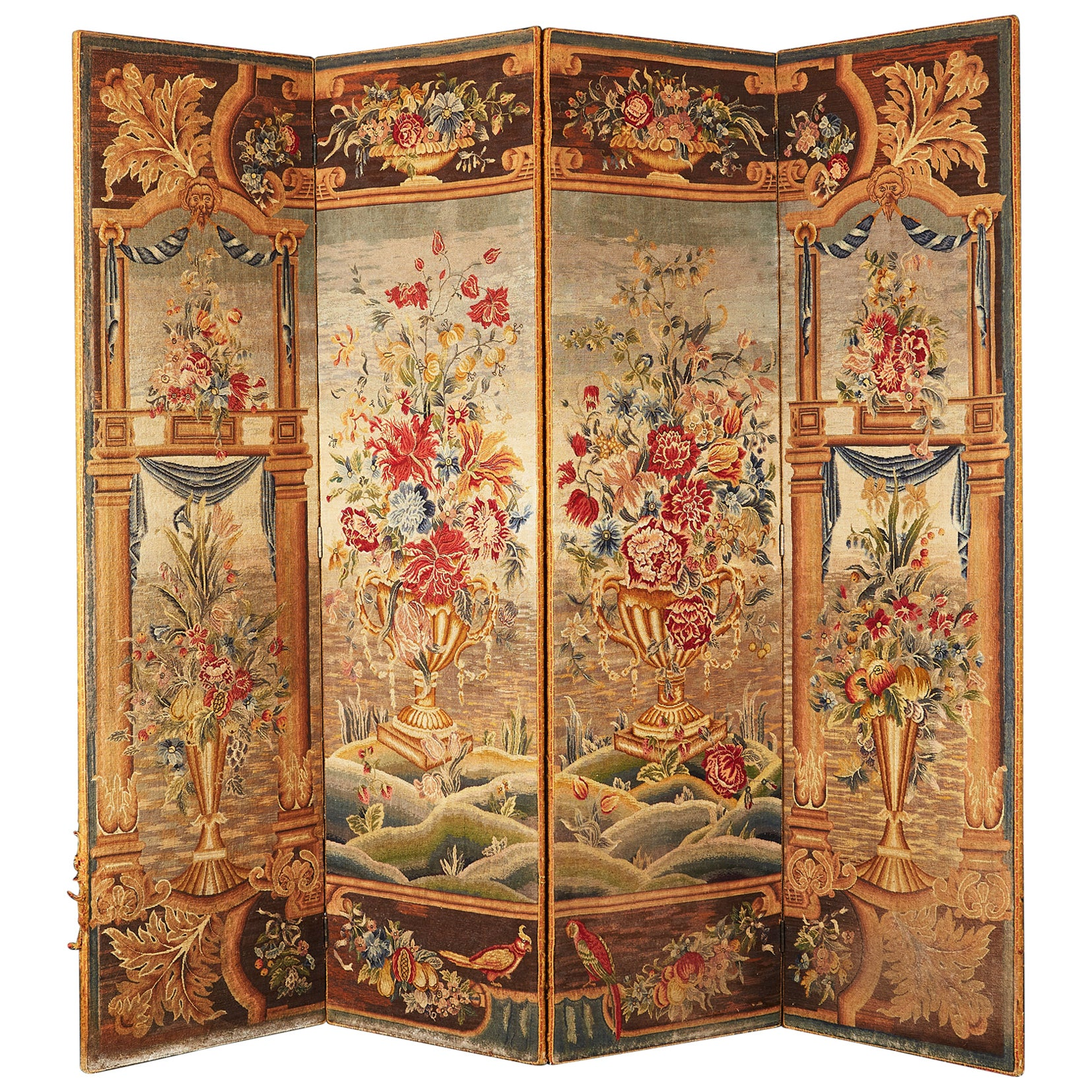 English Four Fold Tapestry Textile Screen in the Flemish Taste