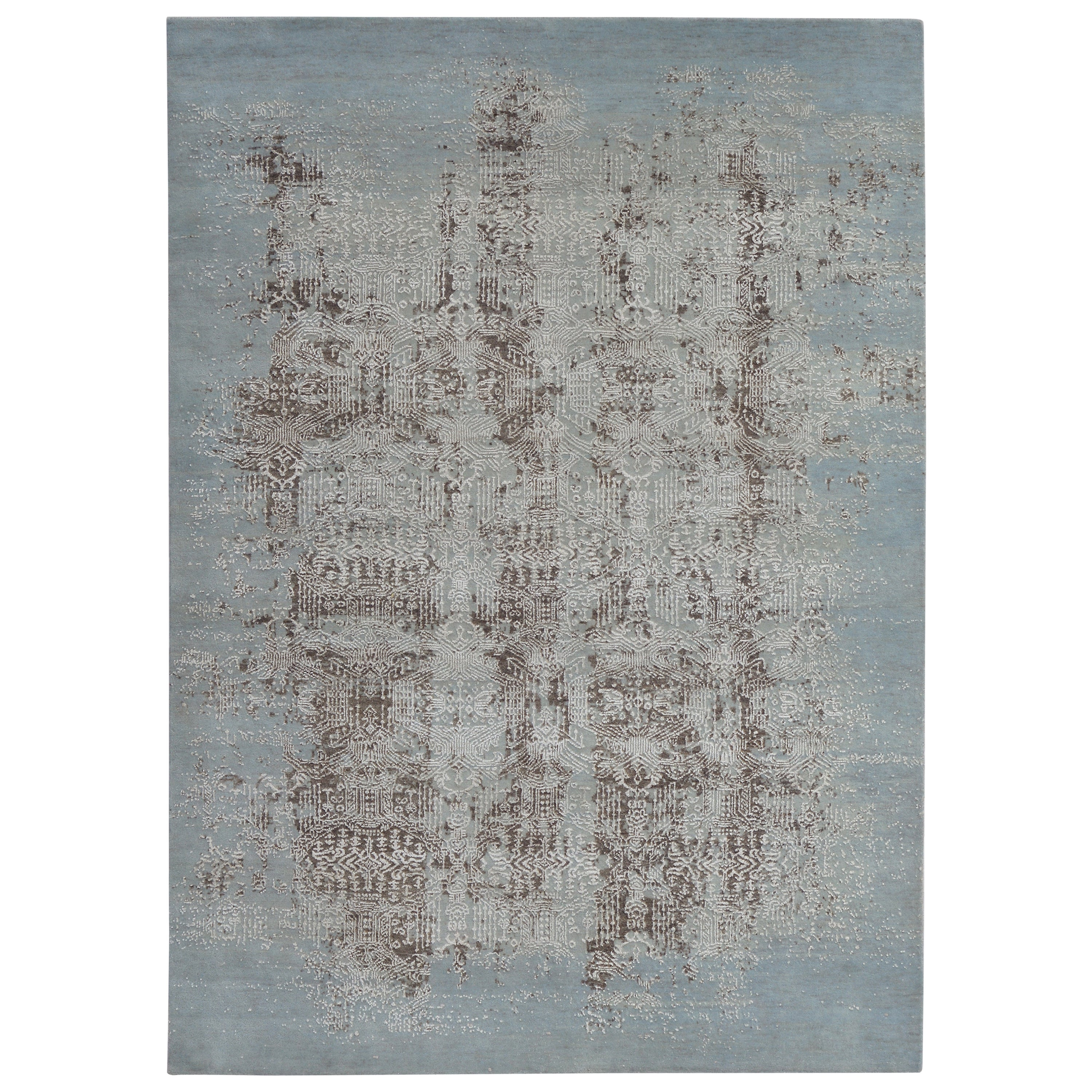 Modern Abstract Rug with Blue and Beige Brown Distressed Pattern by Rug & Kilim