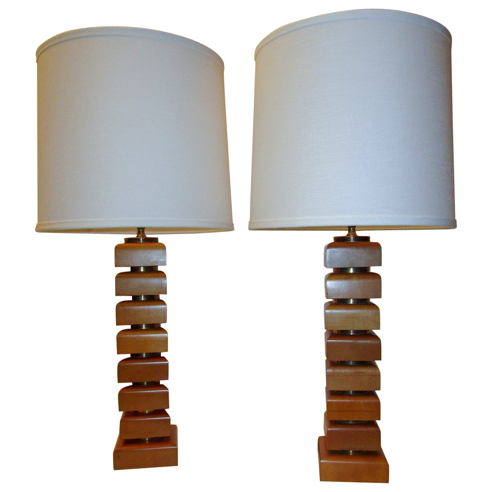 Pair of Mid-Century Modern Maple and Brass Table Lamps