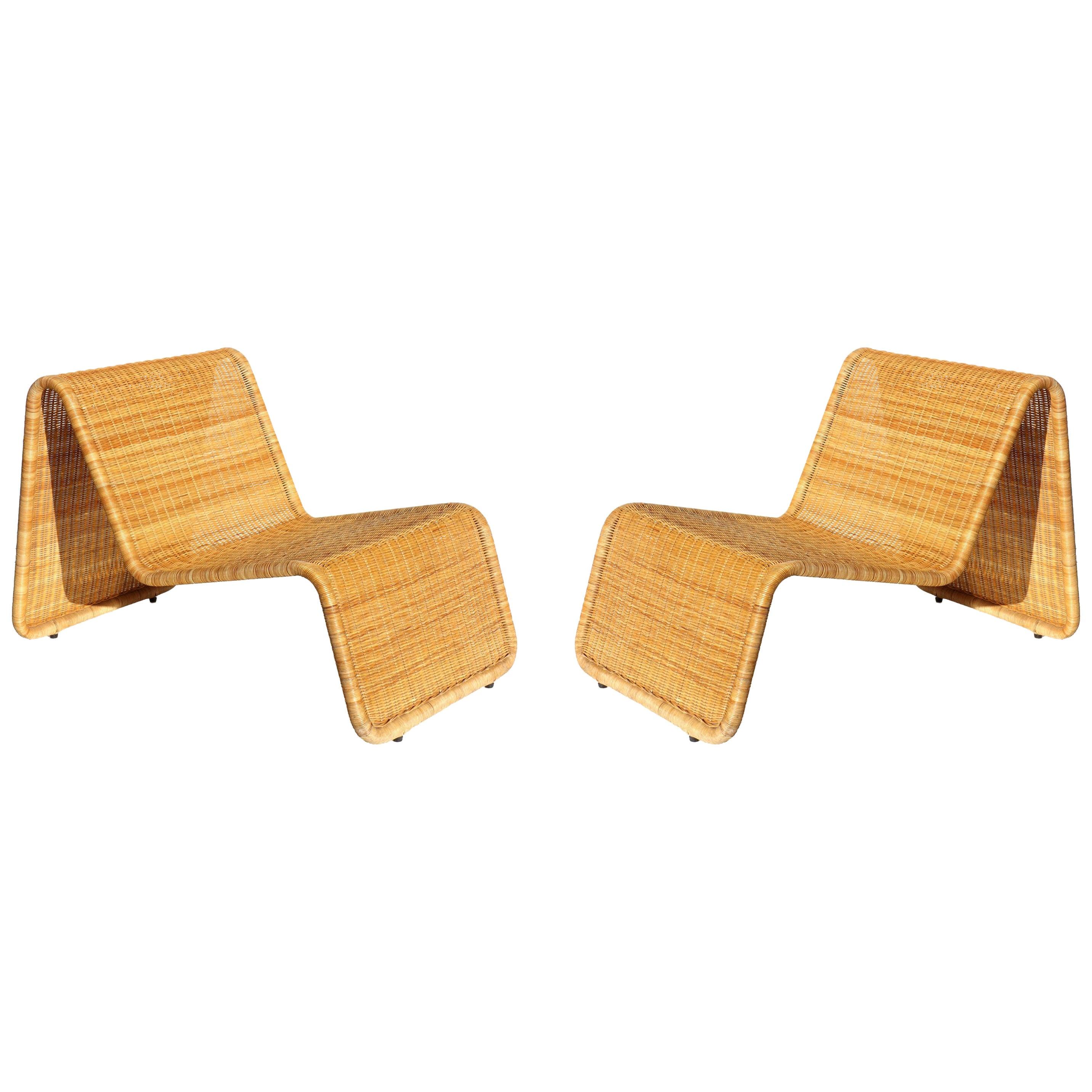 1950s Wicker Rattan Italian Design Midcentury Armchair Lounge Chair, Set of 2