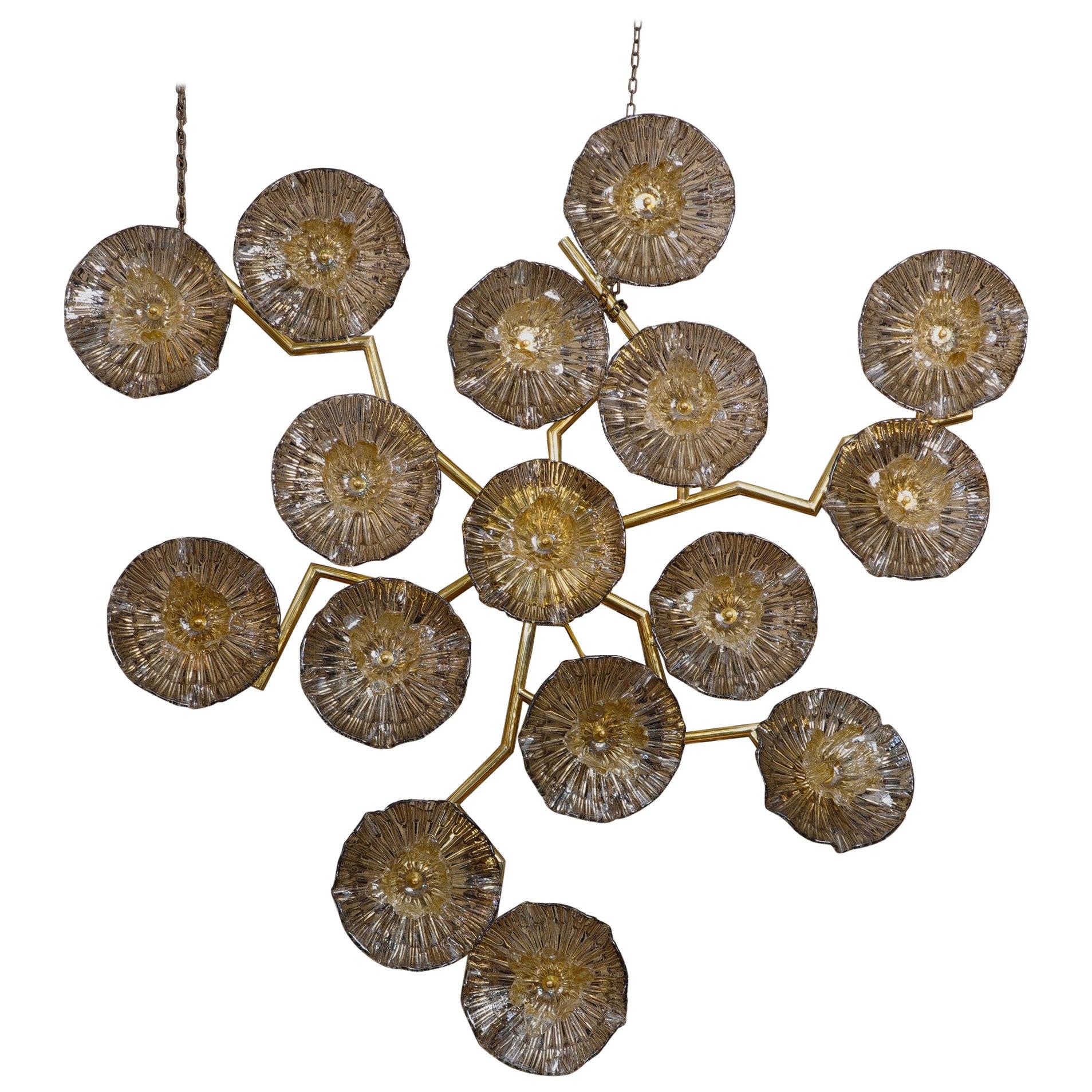 Murano Art Glass and Brass Midcentury Chandelier / Wall Light, 2010