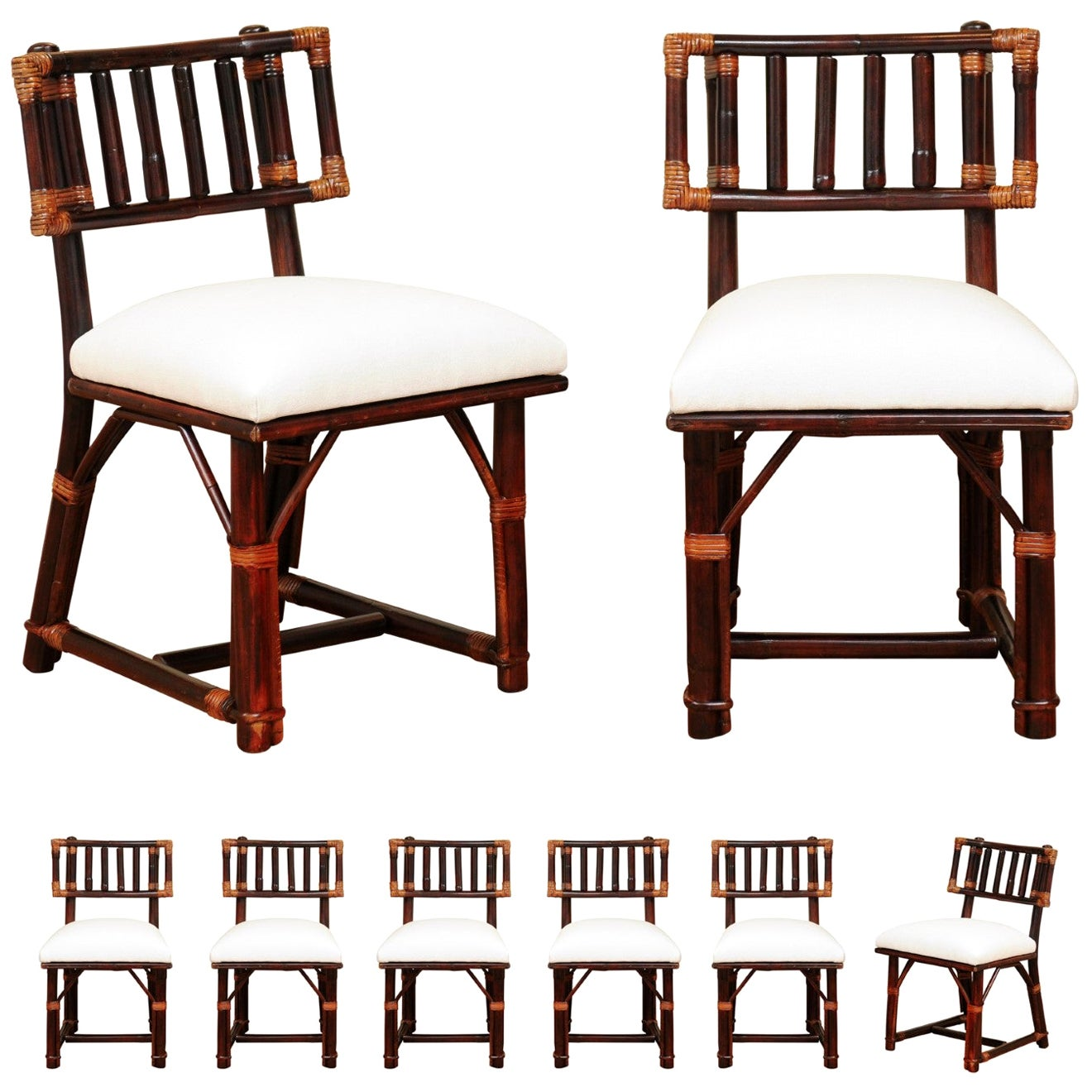 Radiant Set of 8 Rattan Chairs in Cordovan and Caramel by Wisner for Ficks Reed