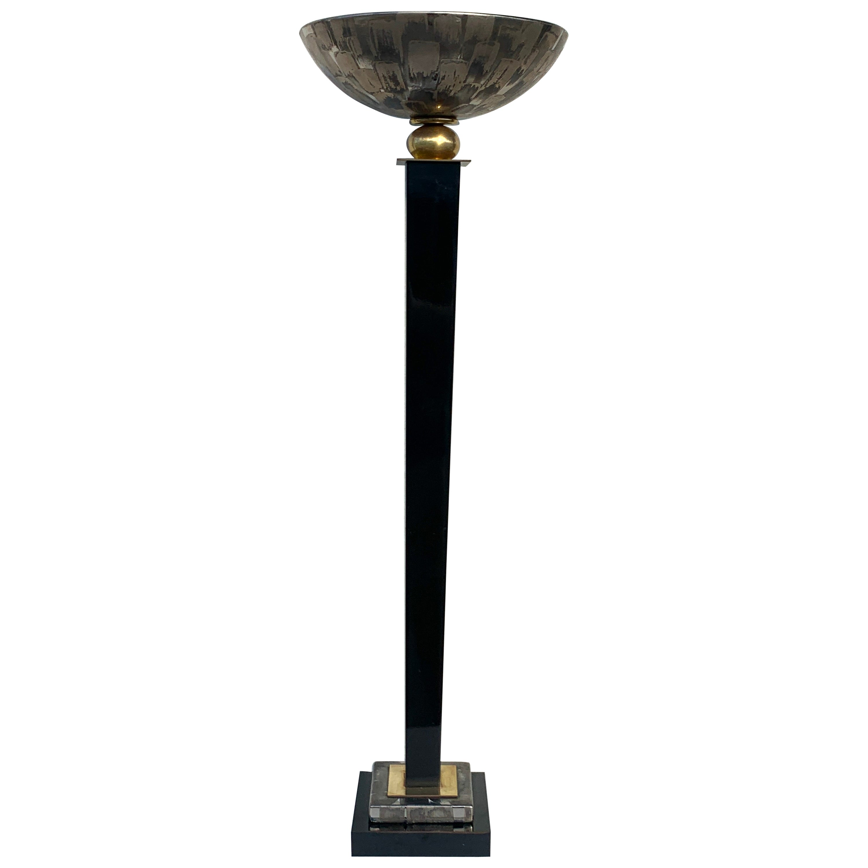 Single Midcentury Table Torchiere Lamp, Attributed to Mangani