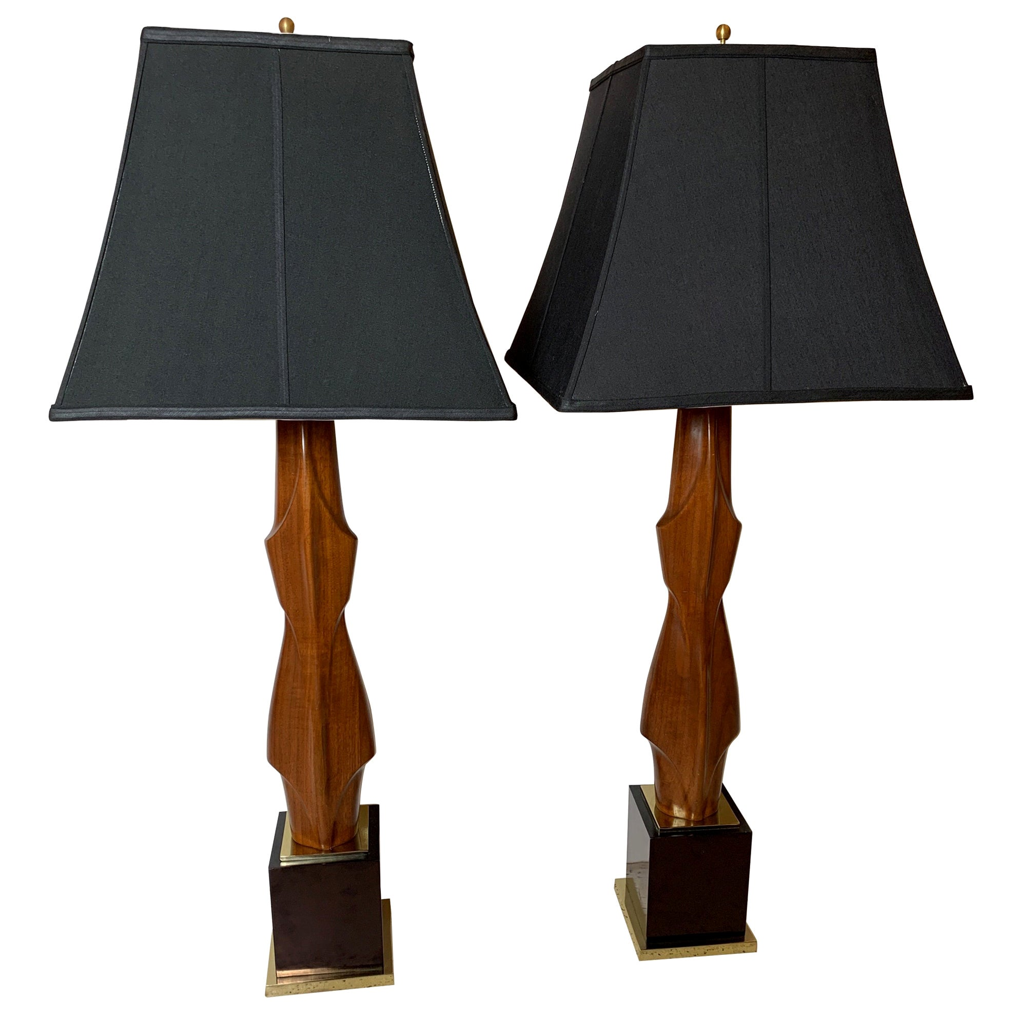 Pair of Mahogany Figural Midcentury Lamps by Laurel Lamp Co.