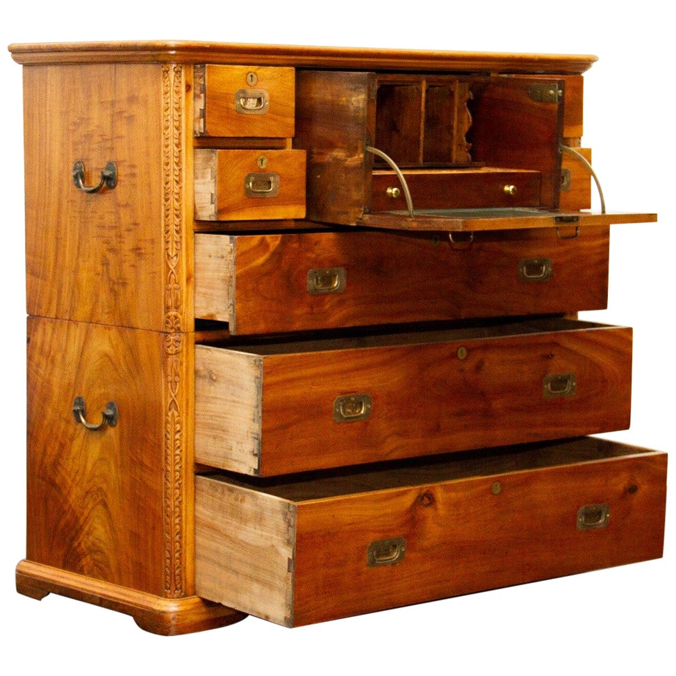 Early 20th Century Camphor Campaign Secretaire Chest